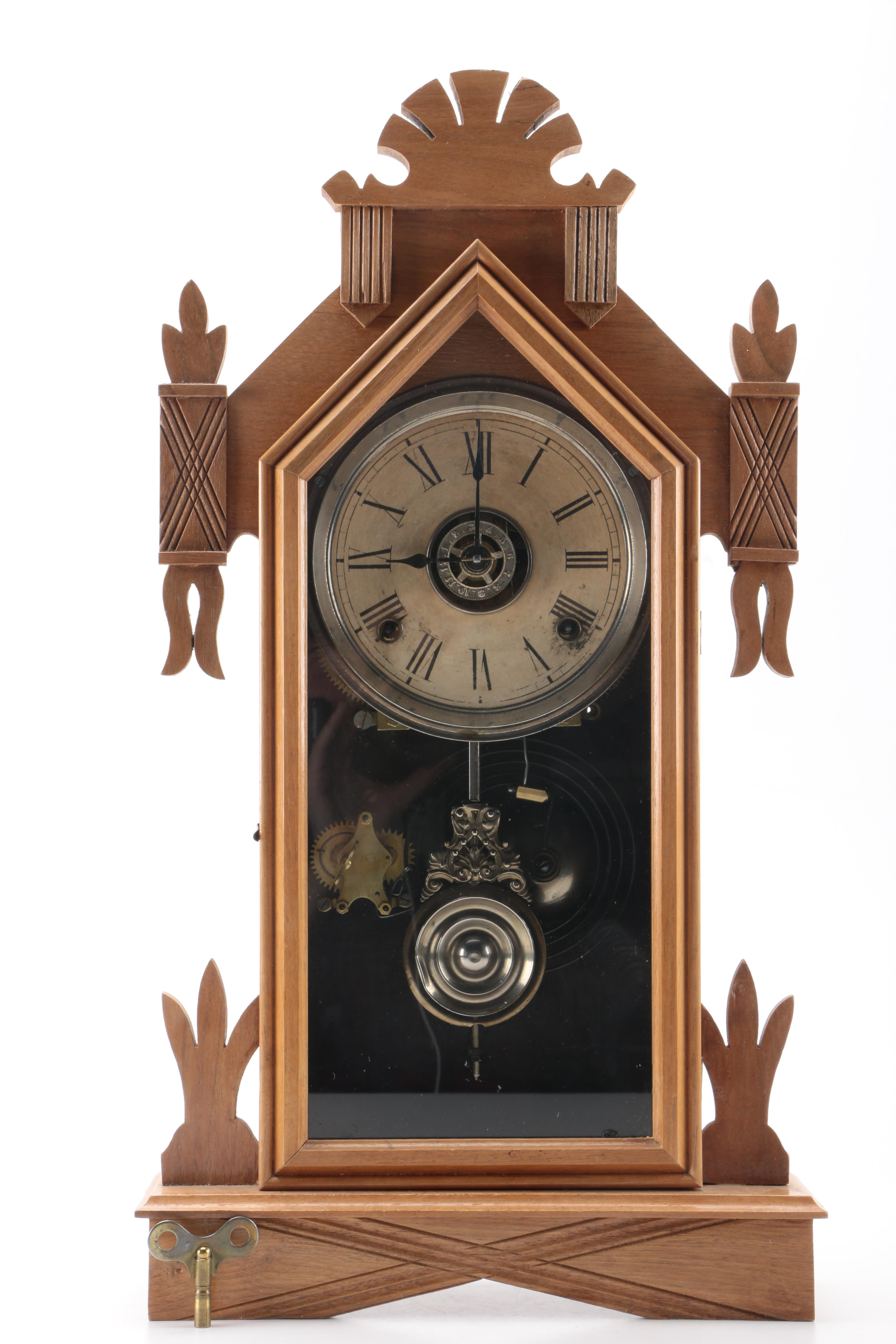Early 20th Century Hand-Carved Wooden Mantel Clock