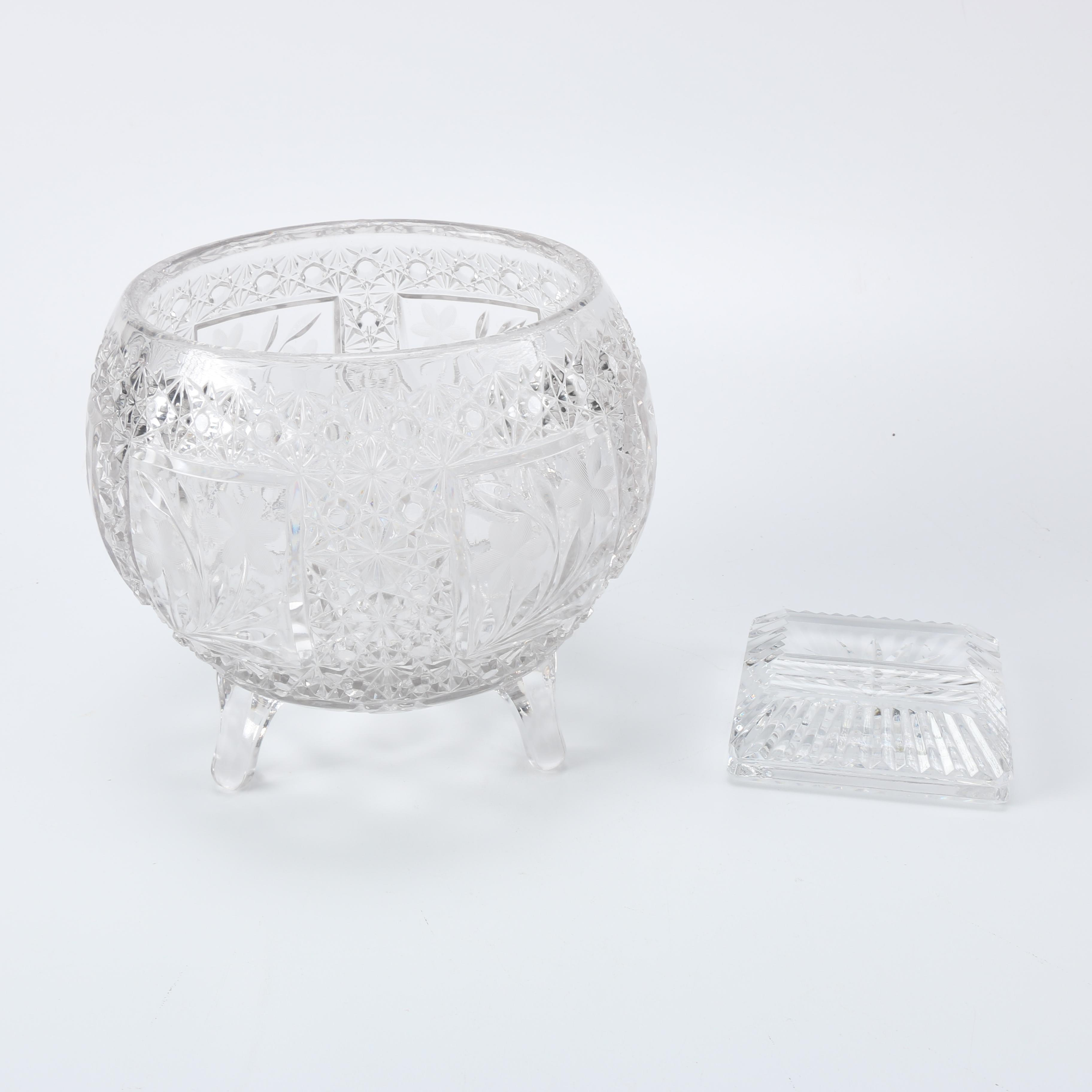 Brilliant Cut Glass Footed Bowl and Crystal Card Holder