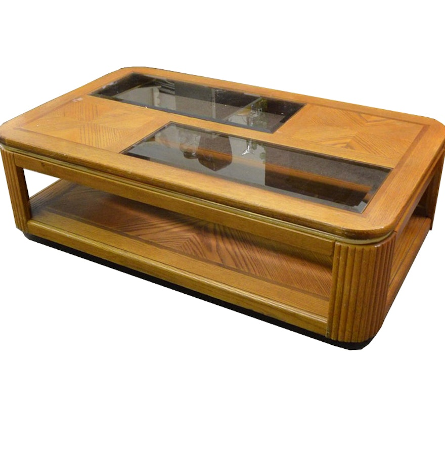 Circa 1980s oak coffee table ebth circa 1980s oak coffee table geotapseo Image collections