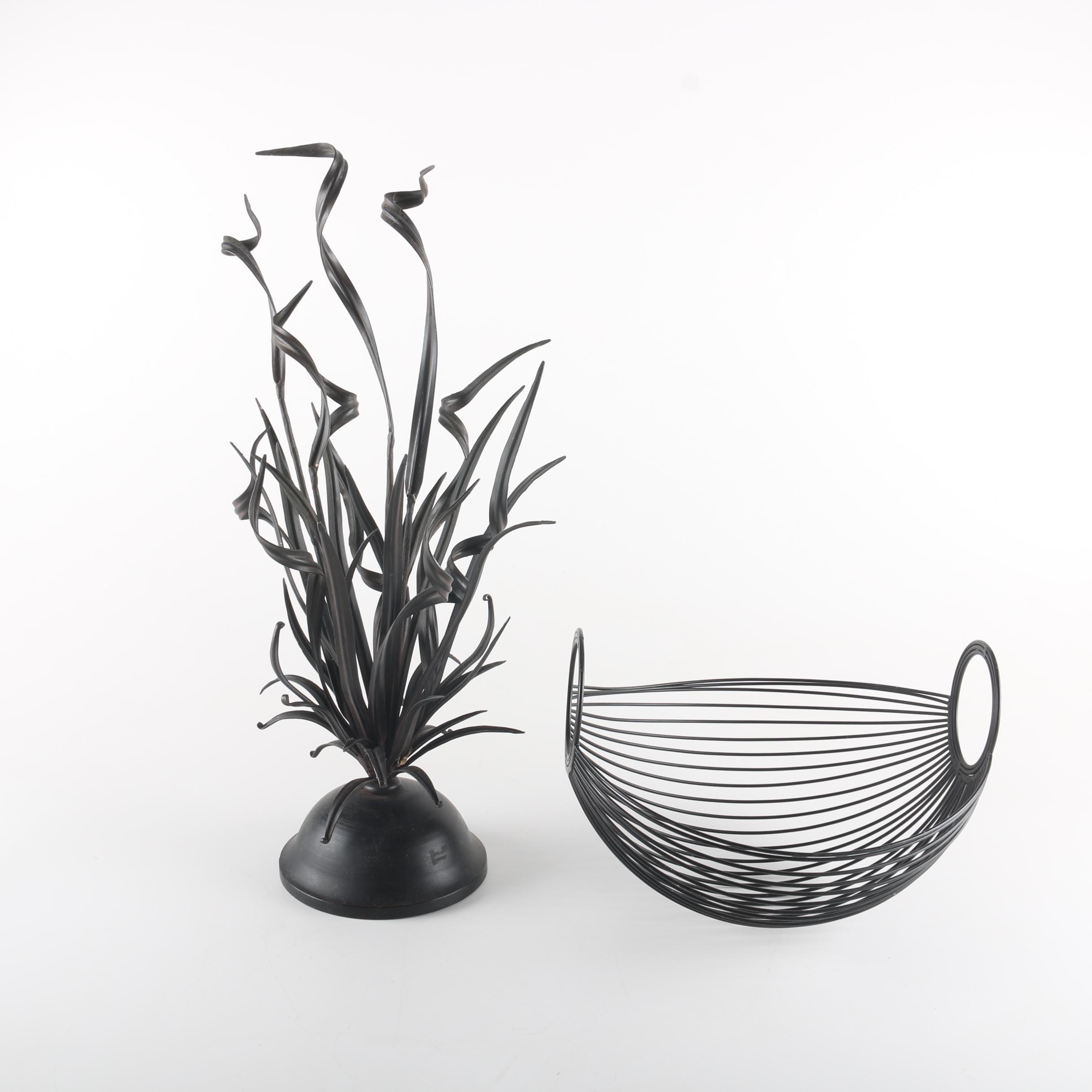 Metal Basket and Metal Grass Sculpture