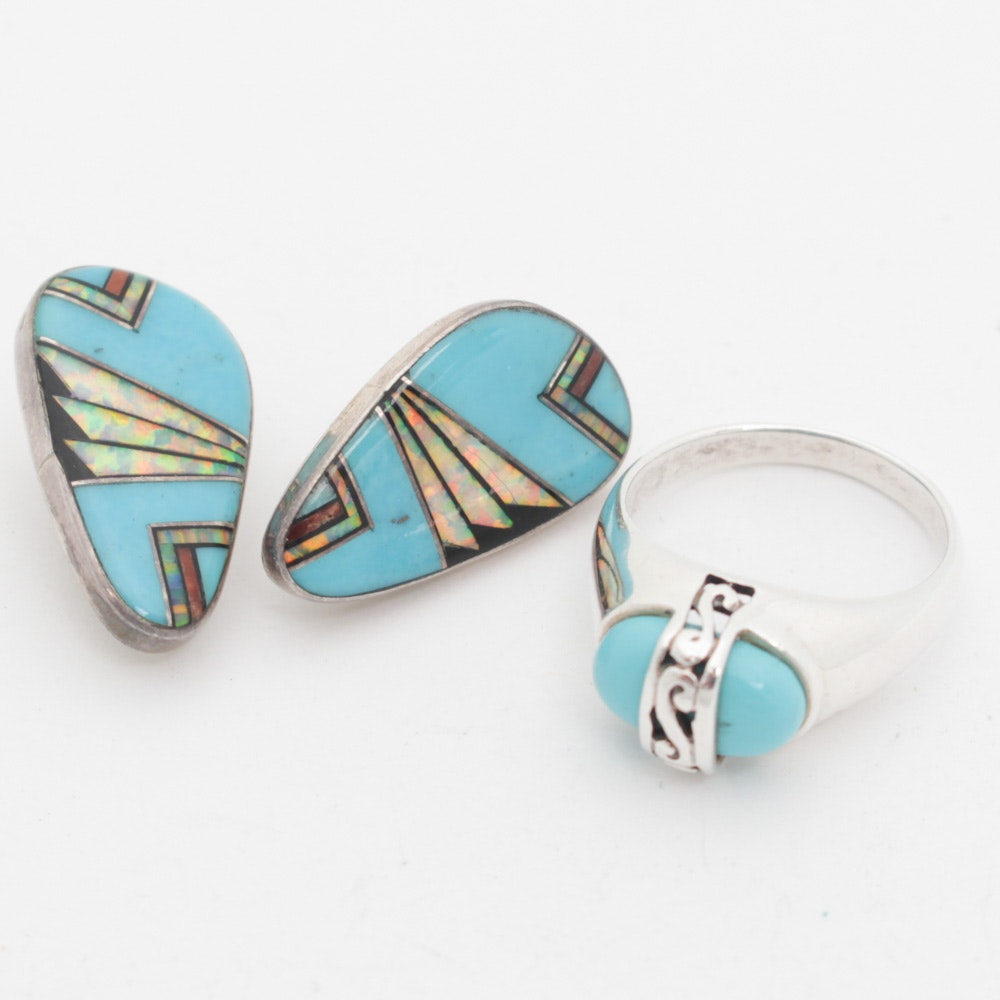 Sterling Silver Jewelry Set with Synthetic Turquoise and Opal