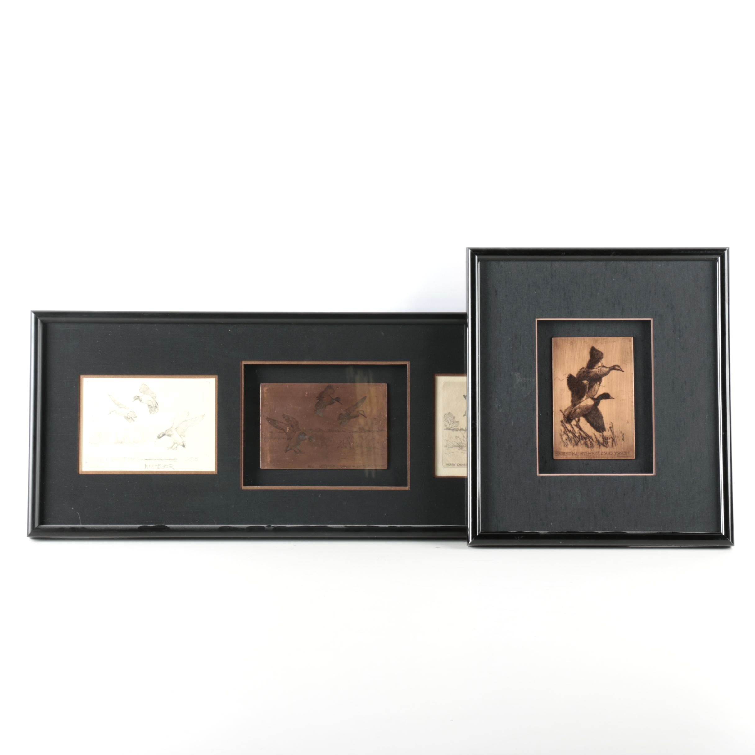 Richard Bishop Etched Copper Plates, Etching and a Drawing