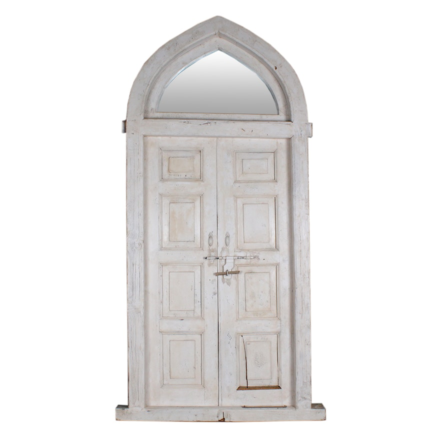 Vintage Salvaged Door with Transom and Frame : EBTH