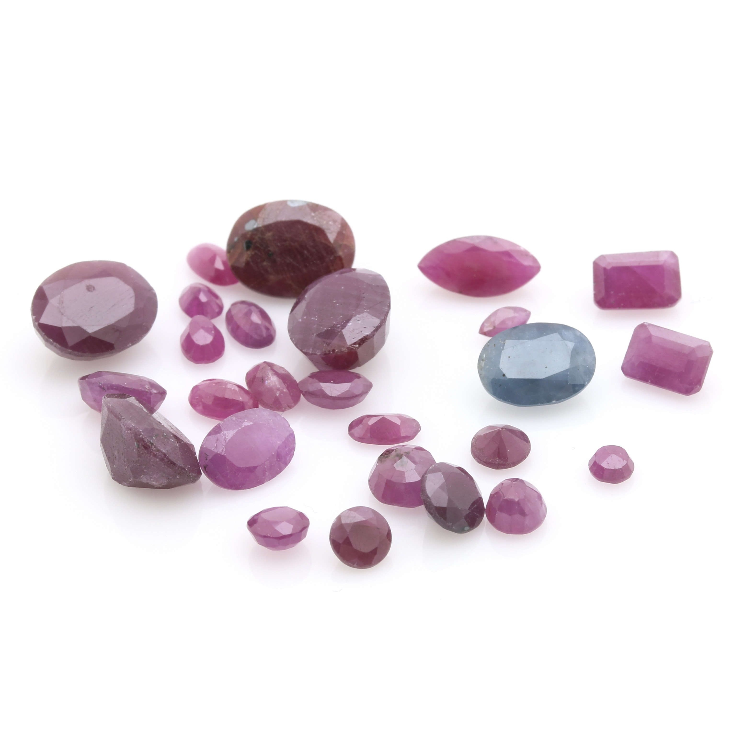 Assortment of Loose Gemstones Featuring Various Rubies and a 1.54 CT Sapphire