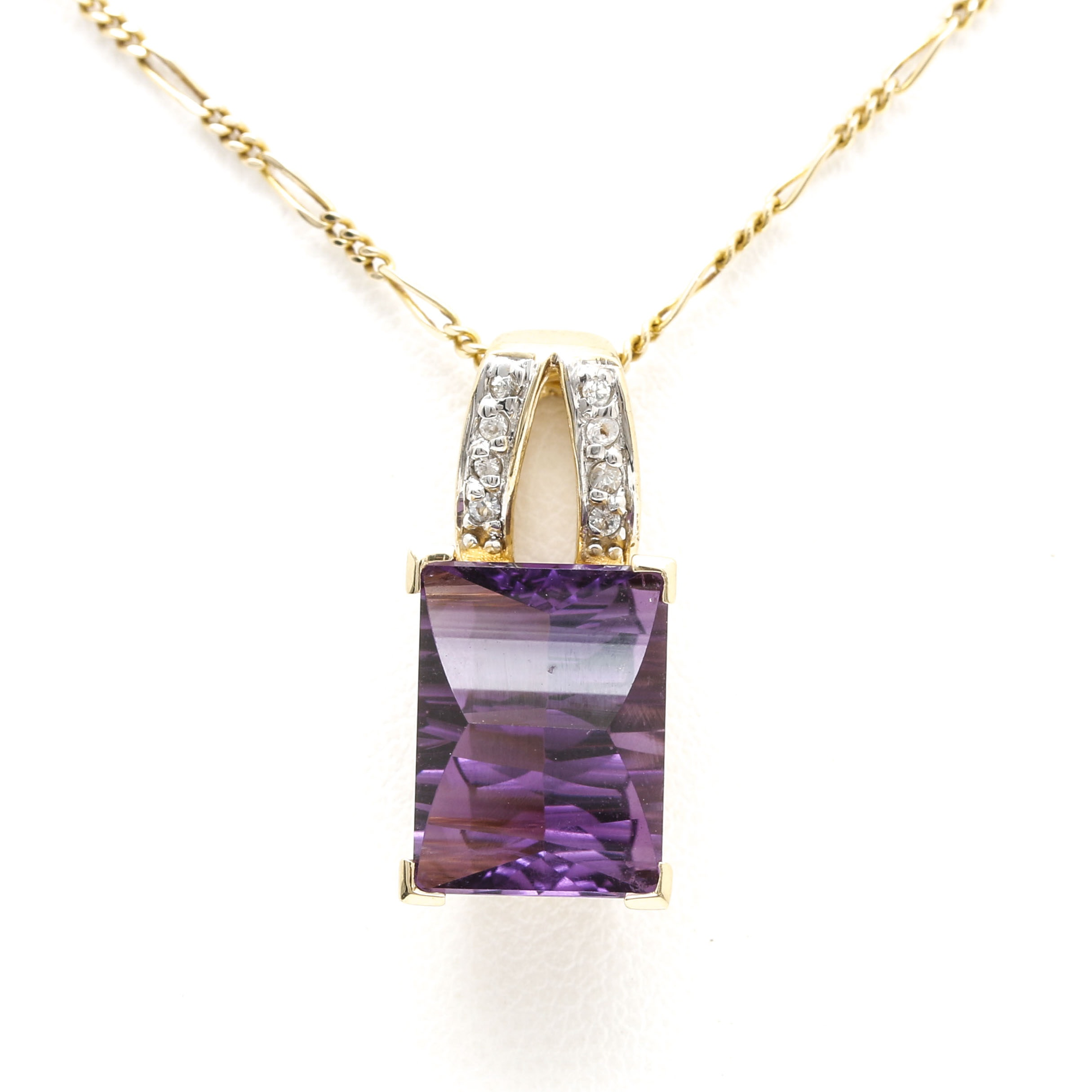 14K Yellow Gold Figaro Necklace and 10K Yellow Gold Amethyst and White Topaz Pendant