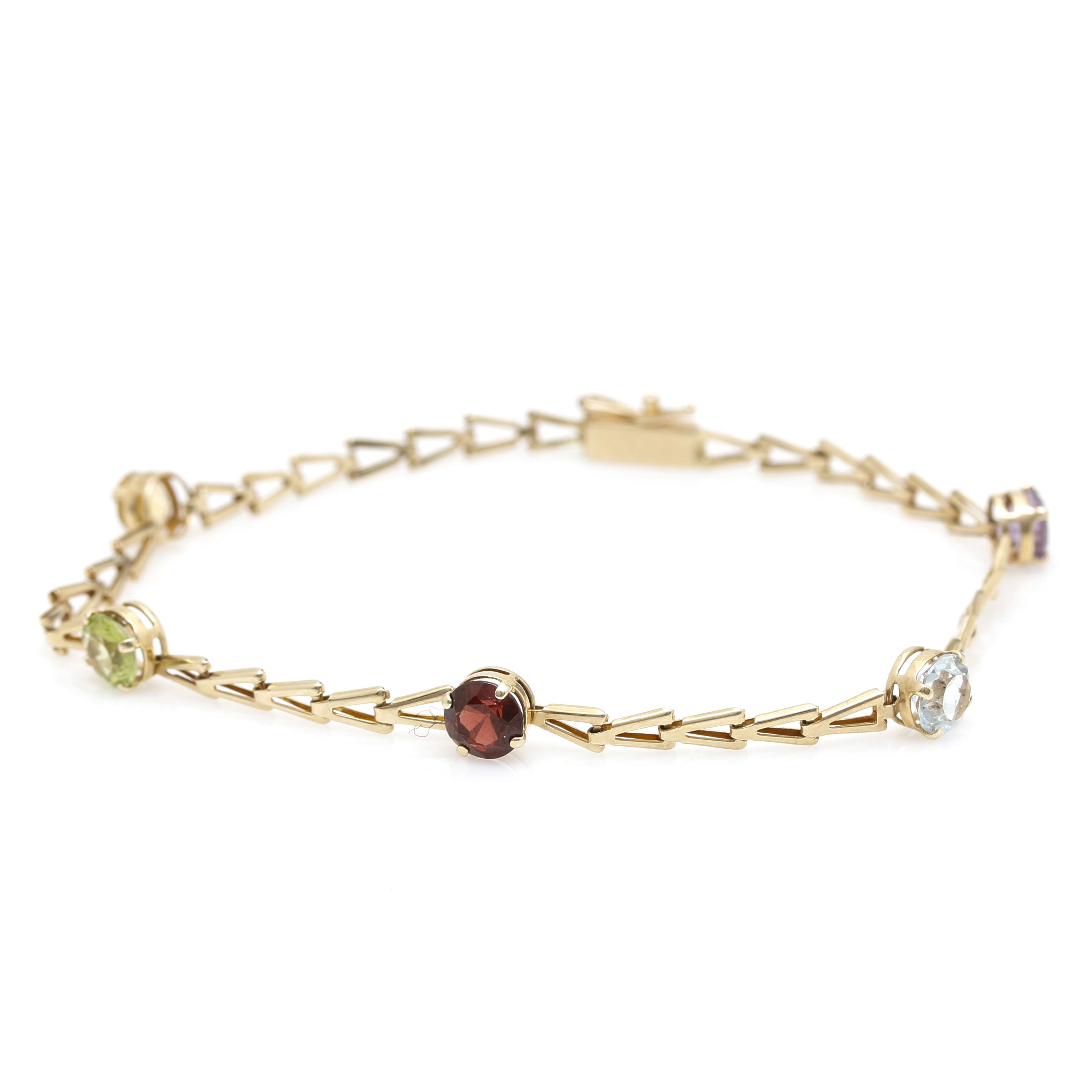 14K Yellow Gold Multi-Gemstone Station Bracelet
