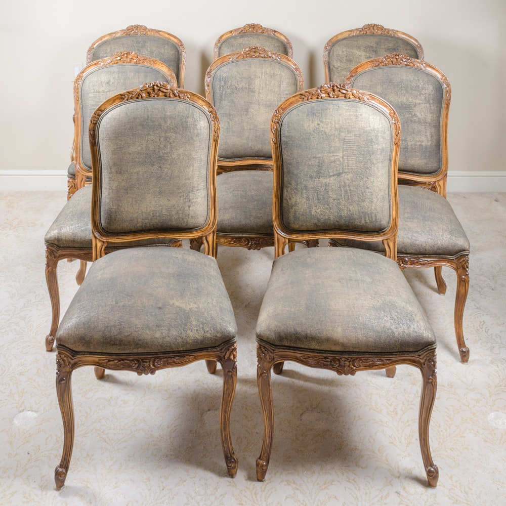 Contemporary Provincial Louis XV Style Upholstered Dining Chairs