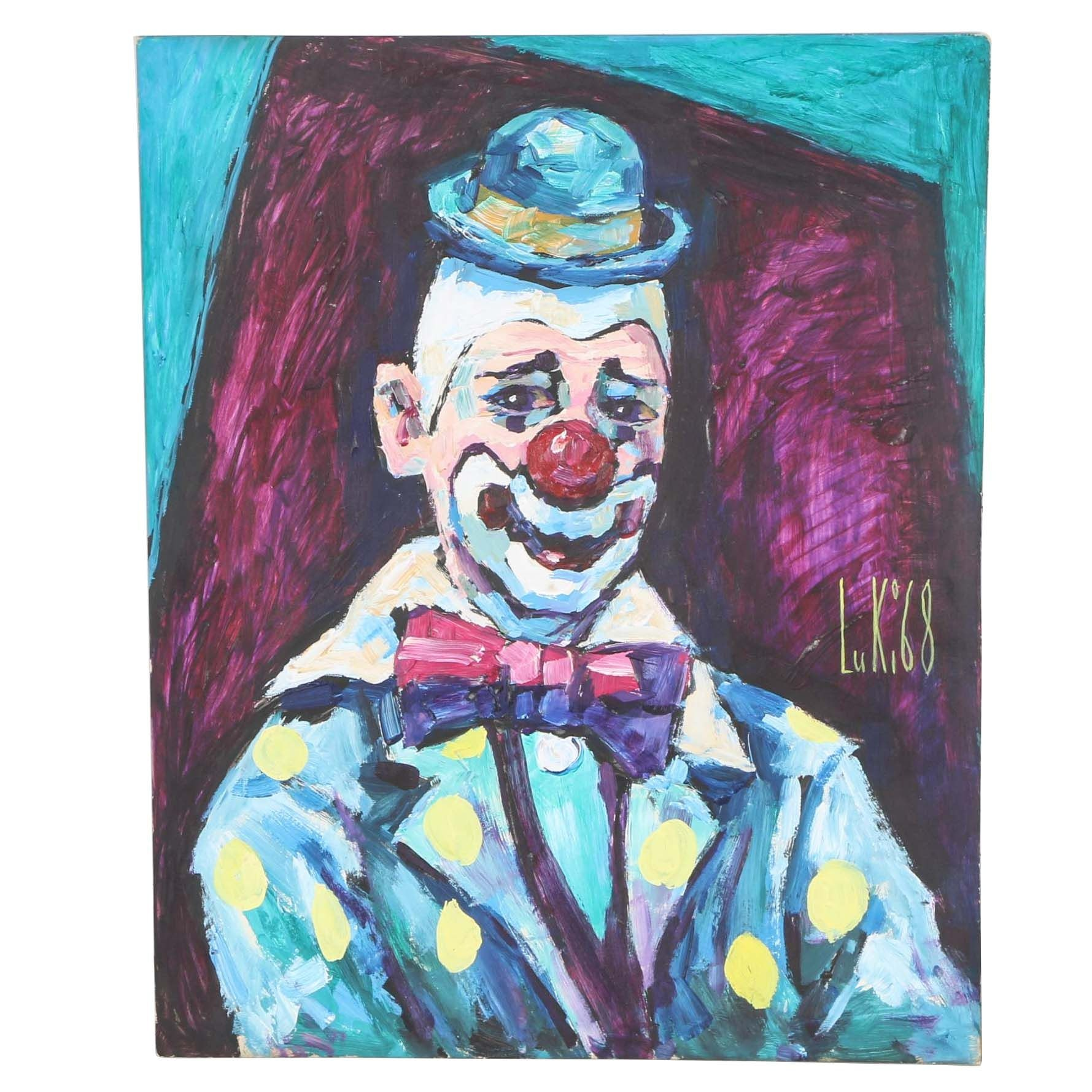 "Lucian Lupinski Acrylic on Board ""A Happy Goof"" Painting"
