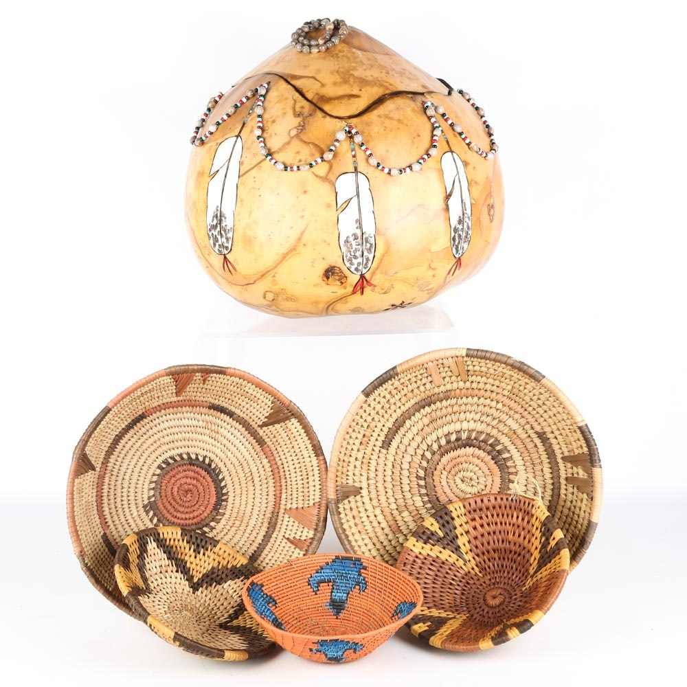 Native American Style Baskets and Gourd