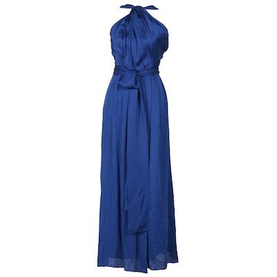 Carolina Herrera Persian Blue Silk Halter Gown