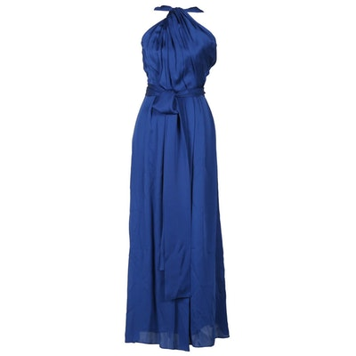 Carolina Herrera Persian Blue Silk Halter Gown