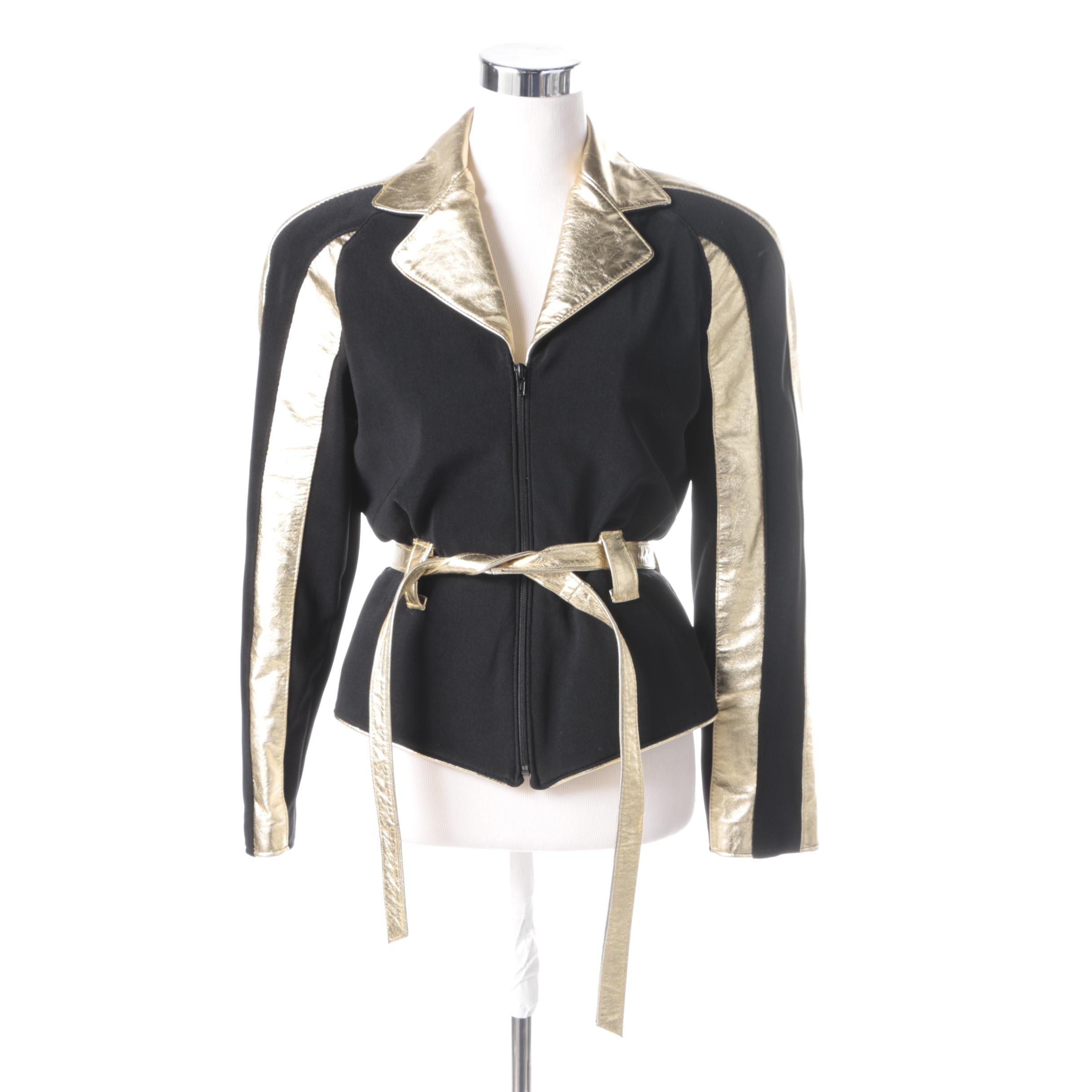 Women's Vintage Black and Gold Leather Jacket