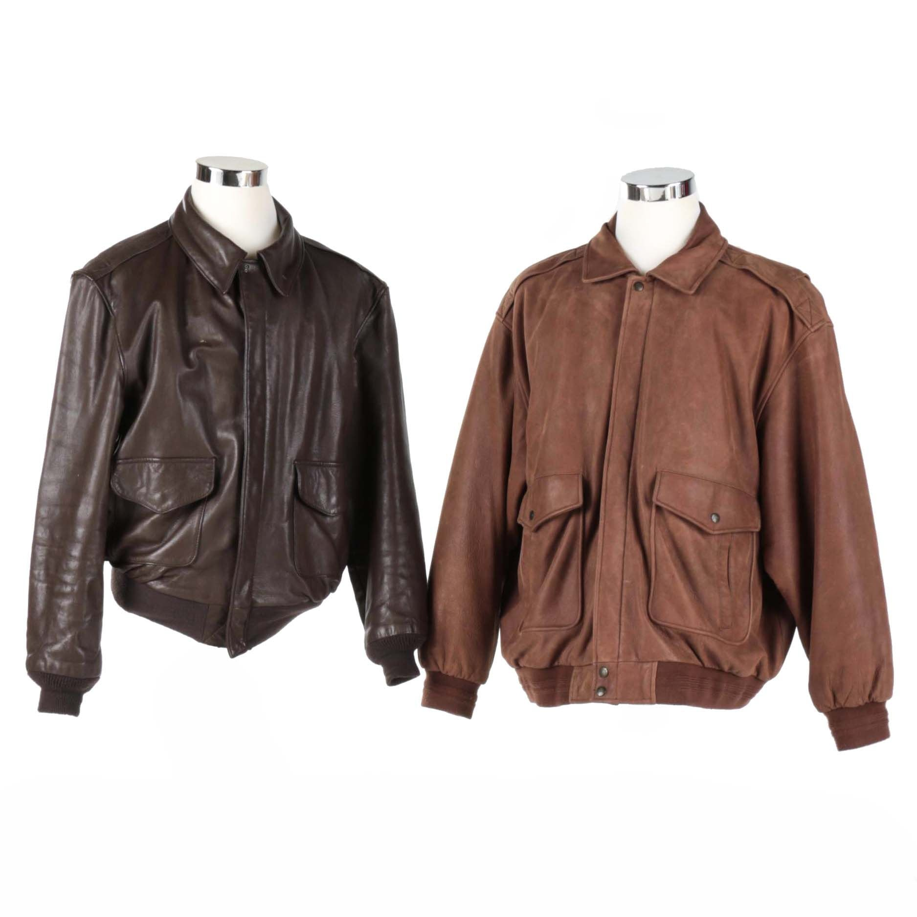 Two Men's Brown Leather Jackets
