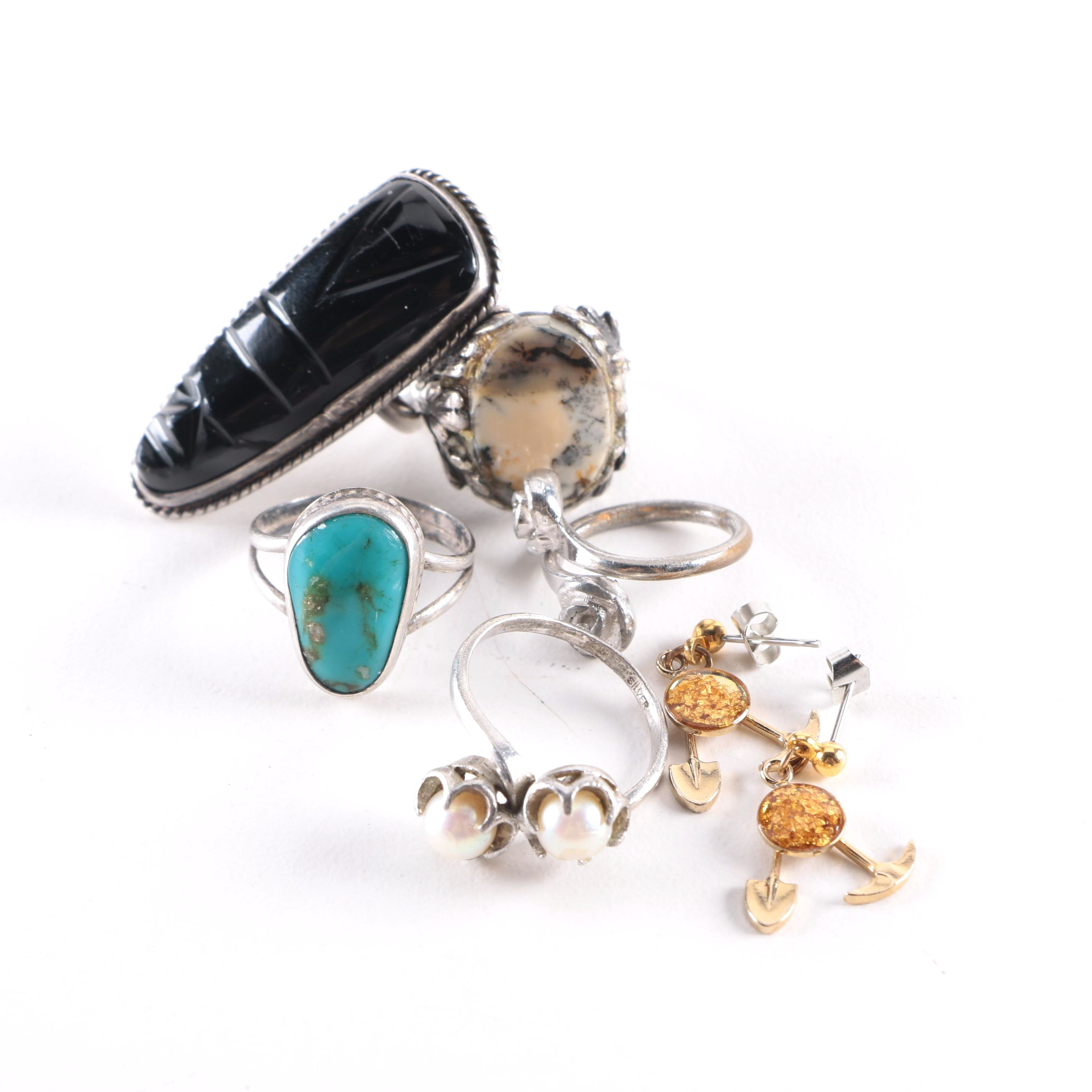 Sterling Silver and Stone Rings and Other Costume Jewelry