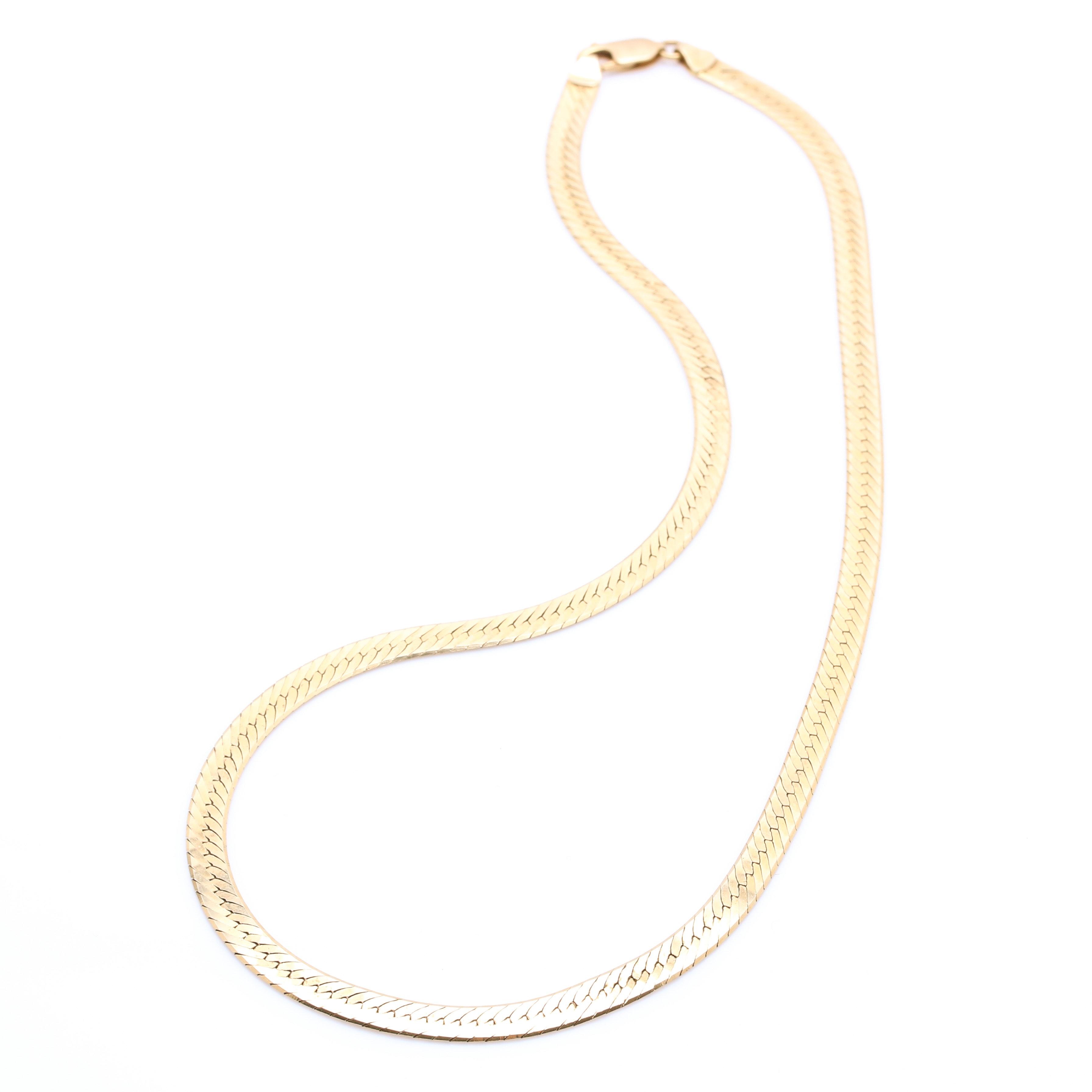 14K Yellow Gold Herringbone Chain Necklace
