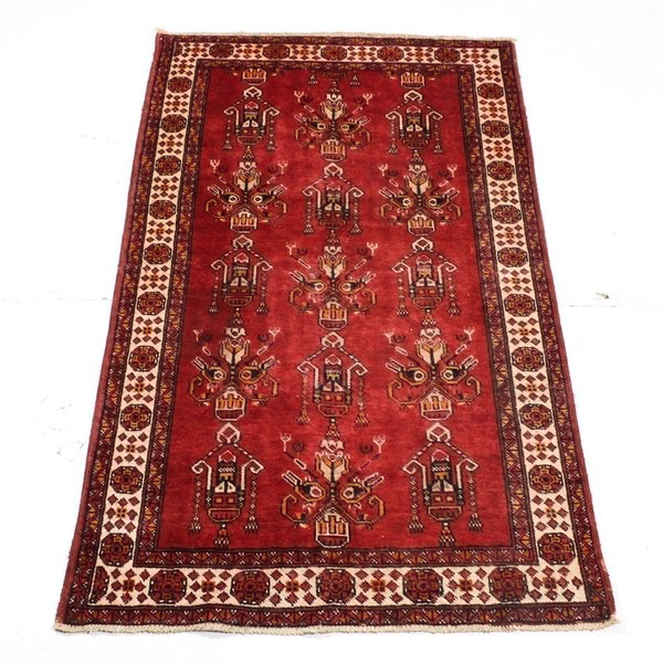 Semi-Antique Hand Knotted Persian Camel Hair Area Rug