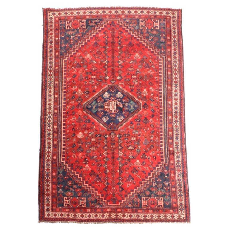 "5'0"" x 8'2"" Antique Hand Knotted Persian Shiraz Pictorial Area Rug"