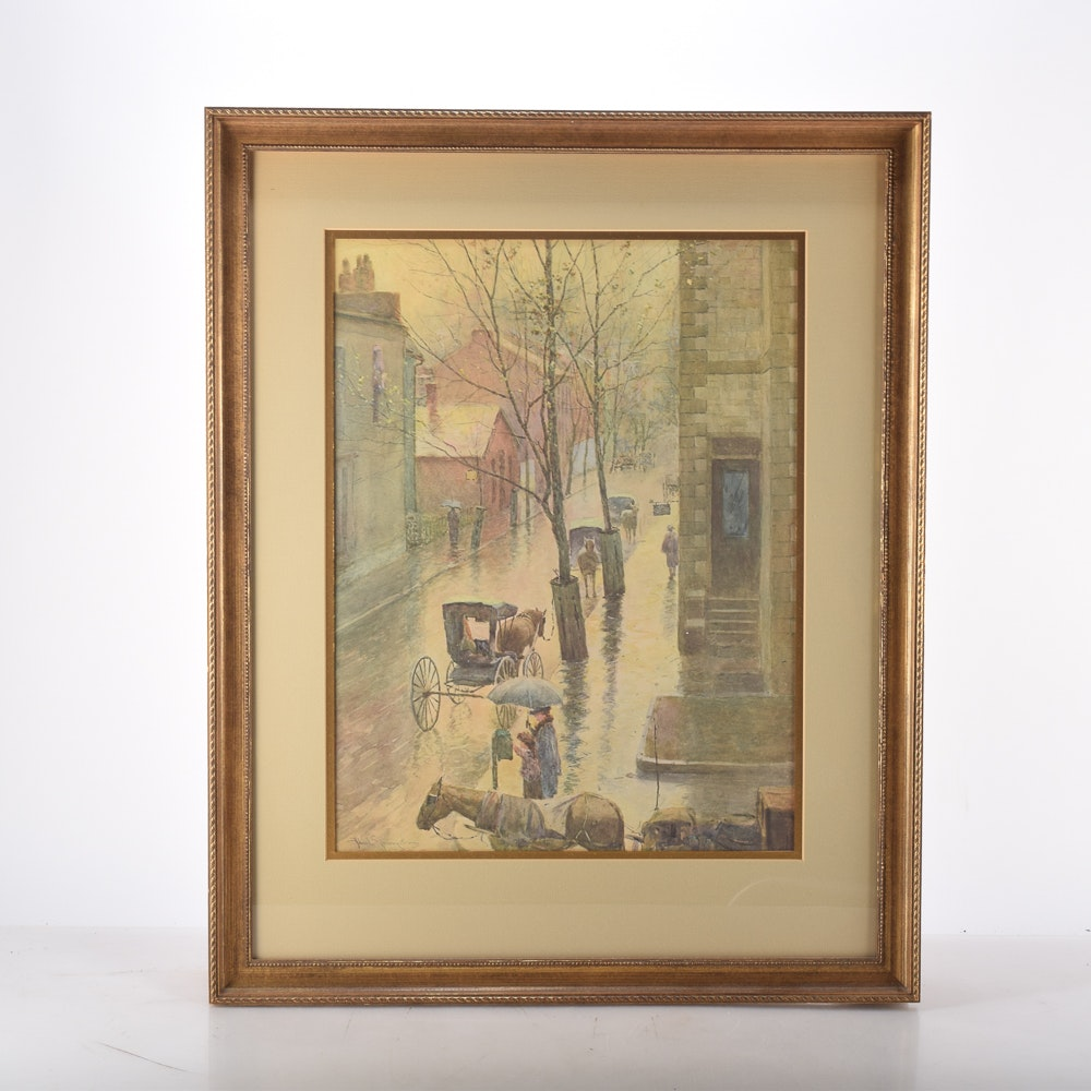 """Paul Sawyier Framed Offset Lithograph """"A Rainy Day in Frankfort"""""""