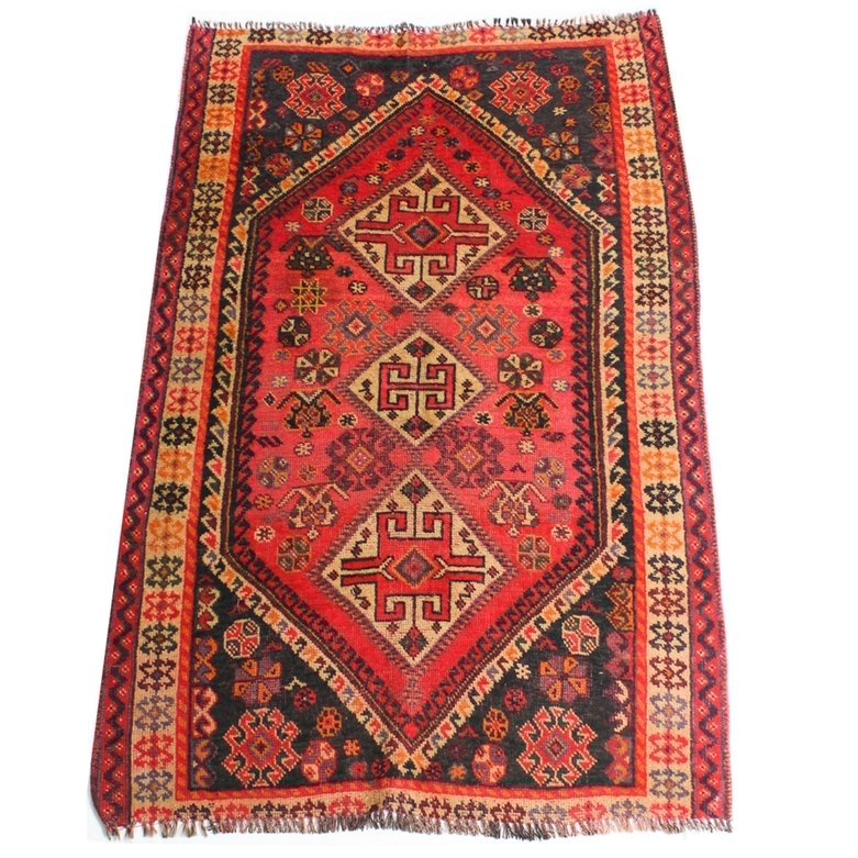 "4'0"" x 6'6"" Semi-Antique Hand Knotted Persian Shiraz Area Rug"