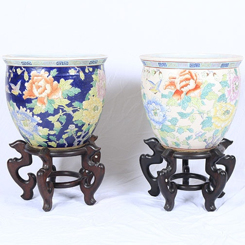 Chinese Porcelain Planters With Stands