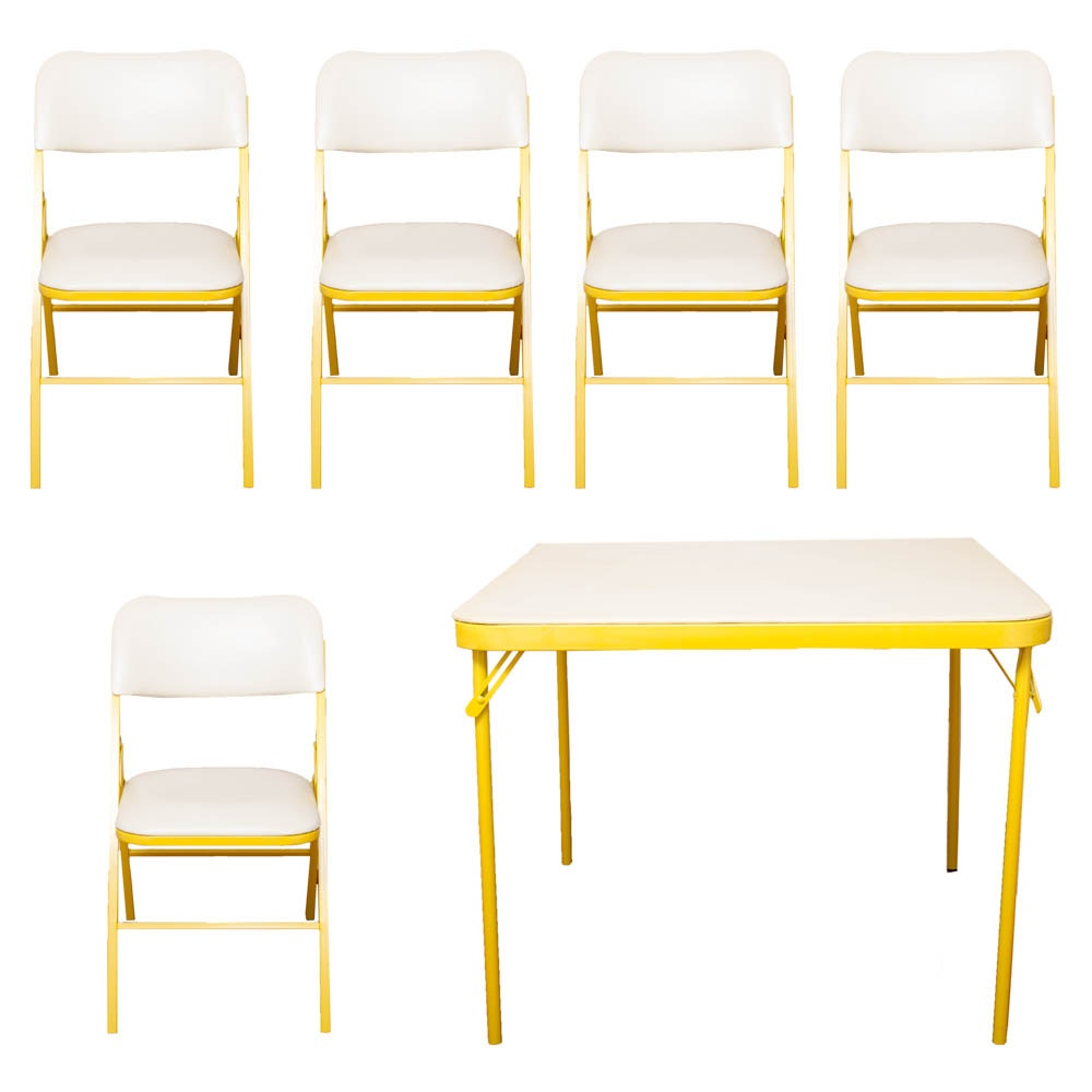 Yellow and White Folding Table With Chairs