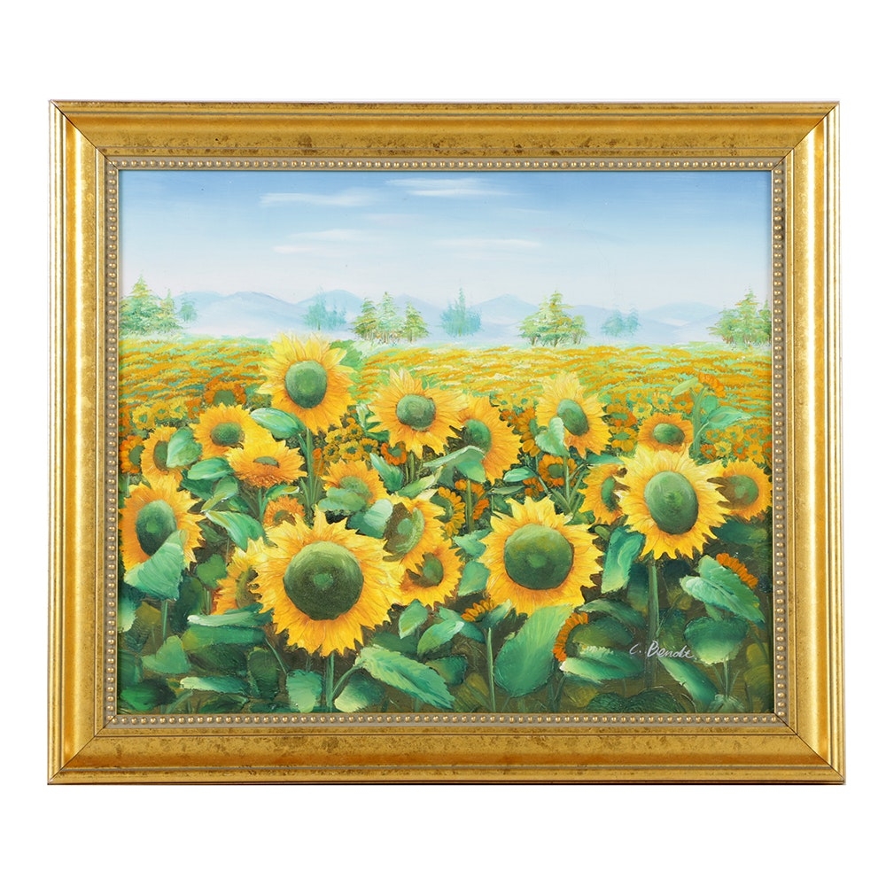 Acrylic Painting on Canvas Landscape with Sunflowers