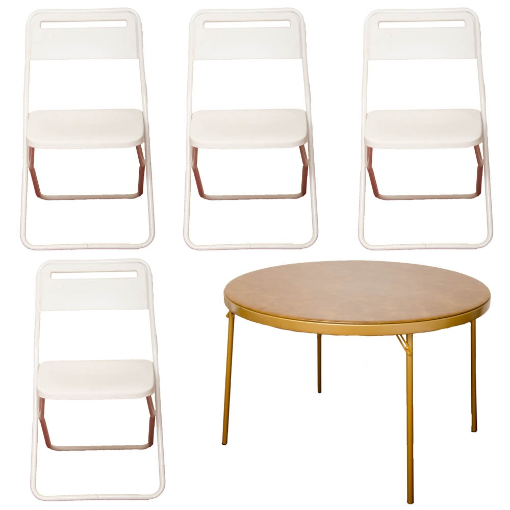 Round Folding Table With White Chairs