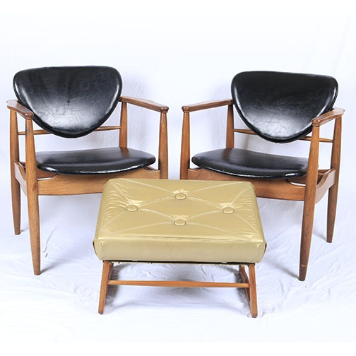 Pair of Mid Century Modern Chairs and Upholstered Foot Stool