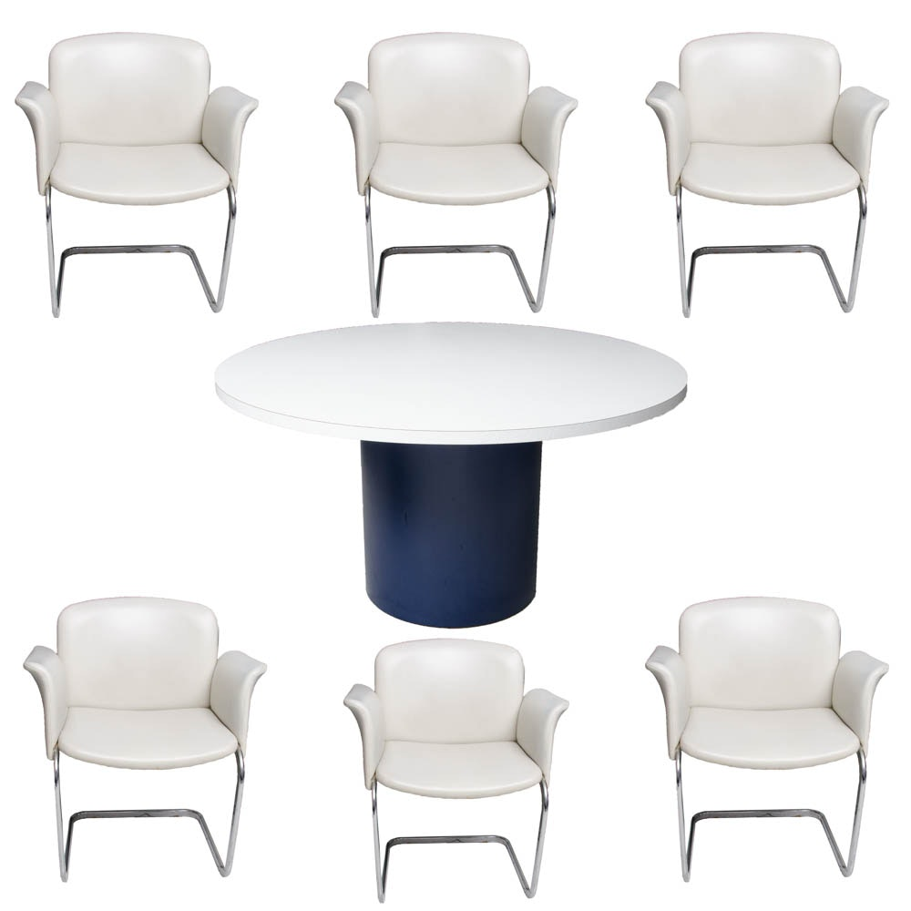 Pedestal Dining Table With Modern Style Chairs
