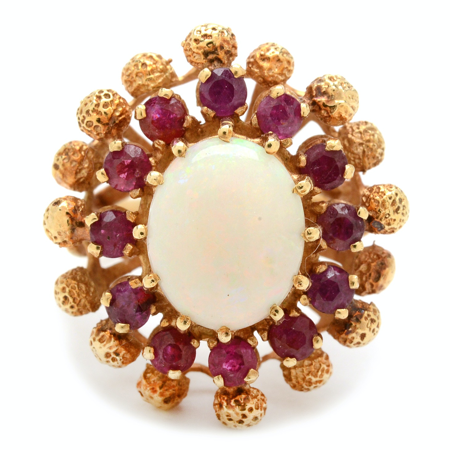 14K Yellow Gold Opal and Natural Ruby Cocktail Ring