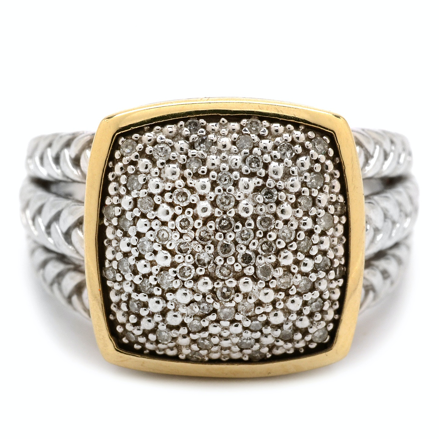 Sterling Silver 14K Yellow Gold Accented Diamond Statement Ring