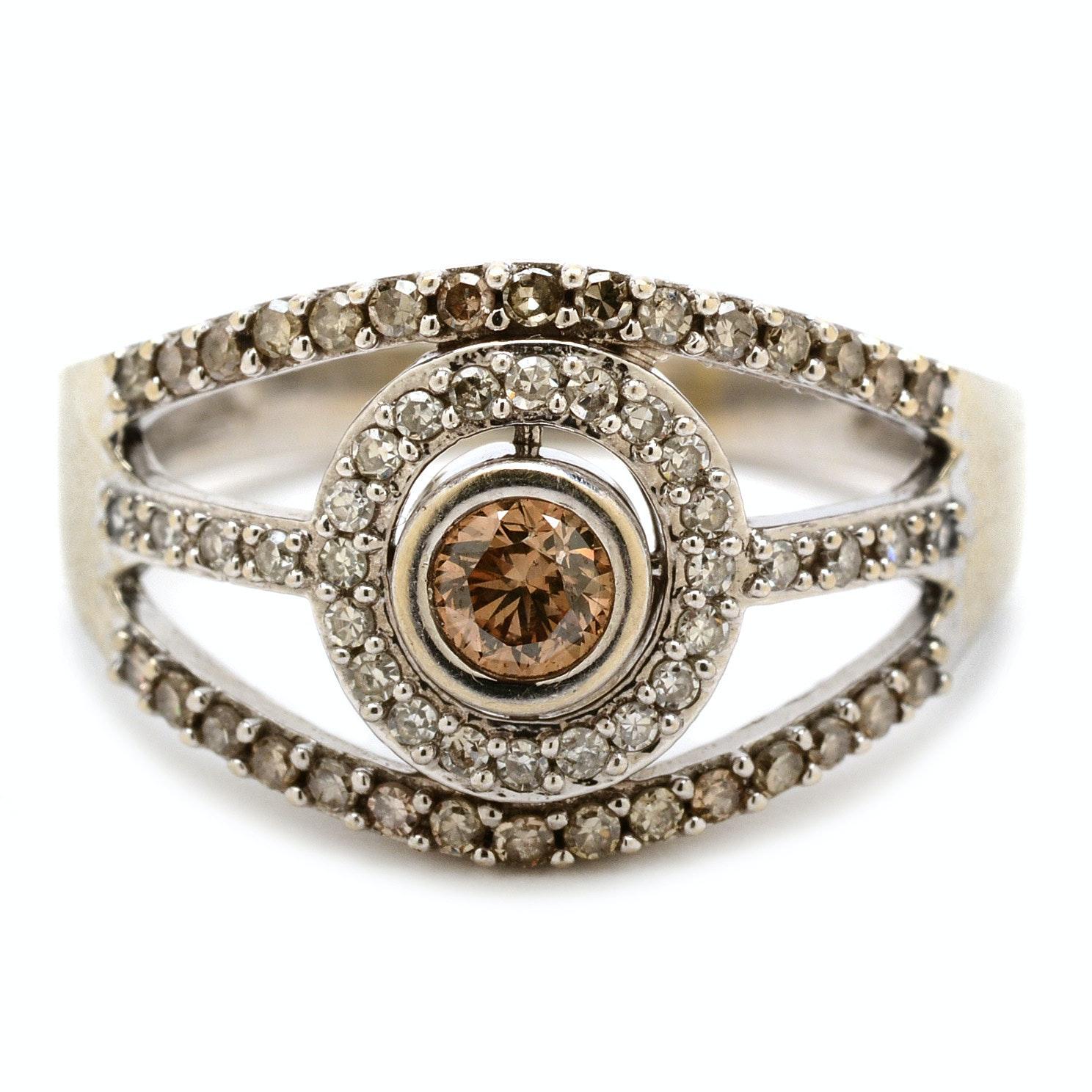 14K White Gold Brown Diamond Fashion Ring