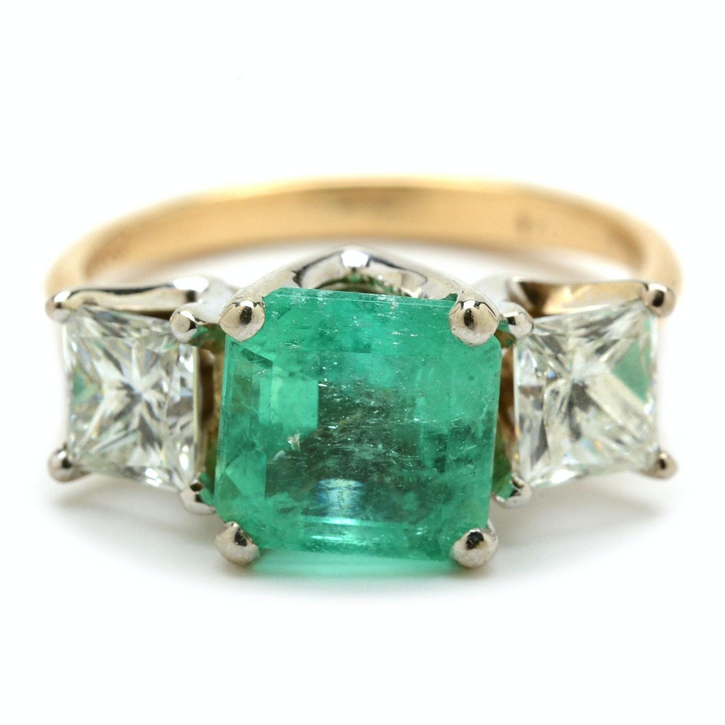 14K Yellow Gold 1.68 Carat Natural Emerald and 1.02 CTW Diamond Ring