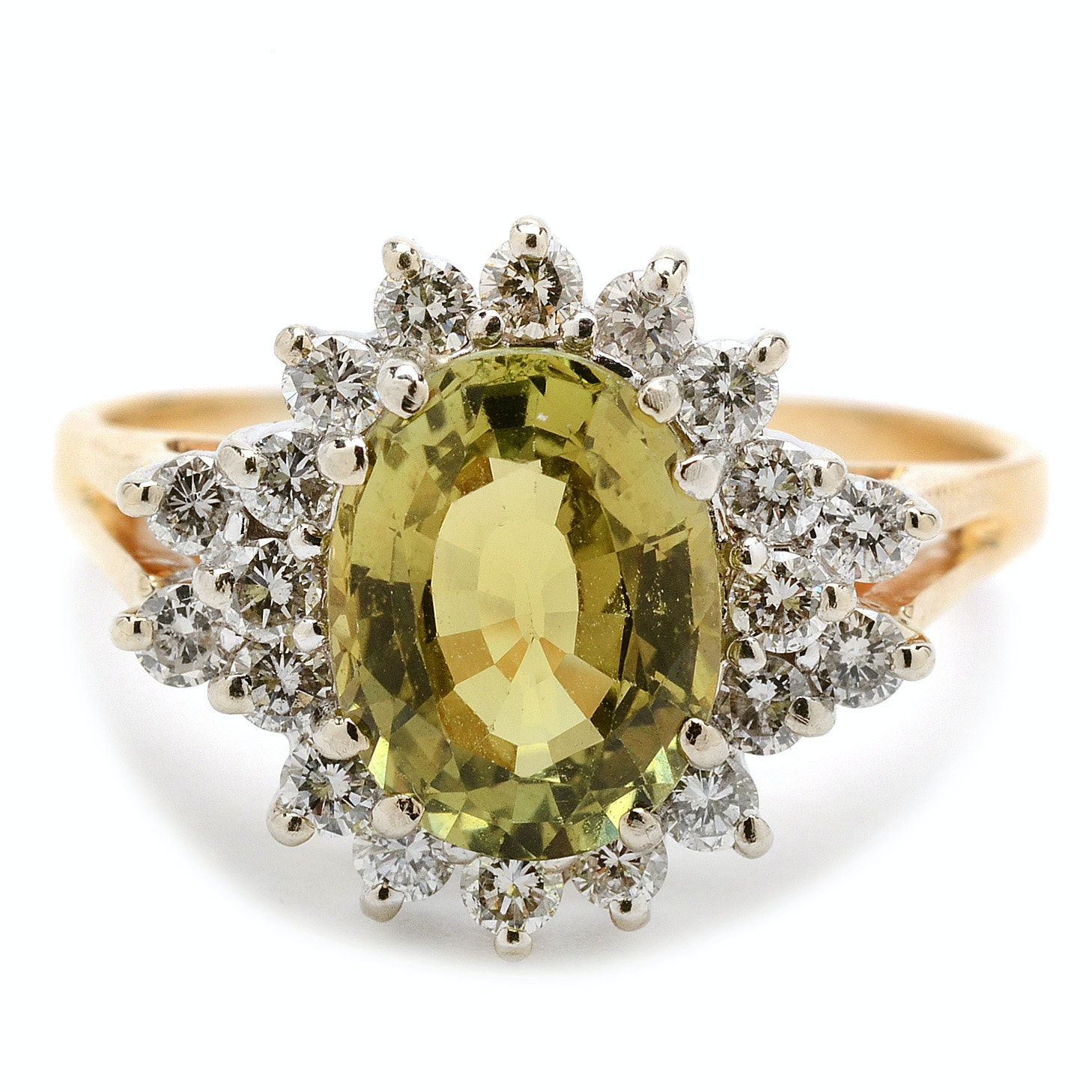 14K Yellow Gold Green Chrysoberyl Diamond Cocktail Ring