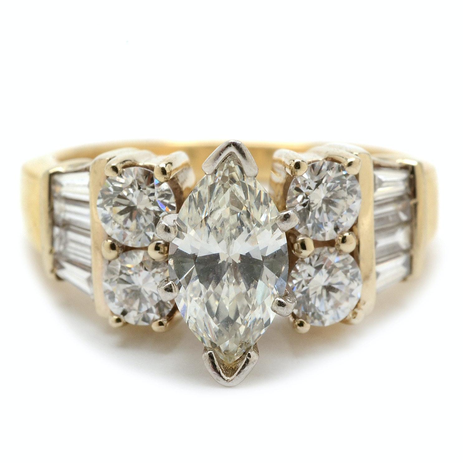 14K Yellow Gold Platinum-Pronged 1.79 CTW Diamond Statement Ring