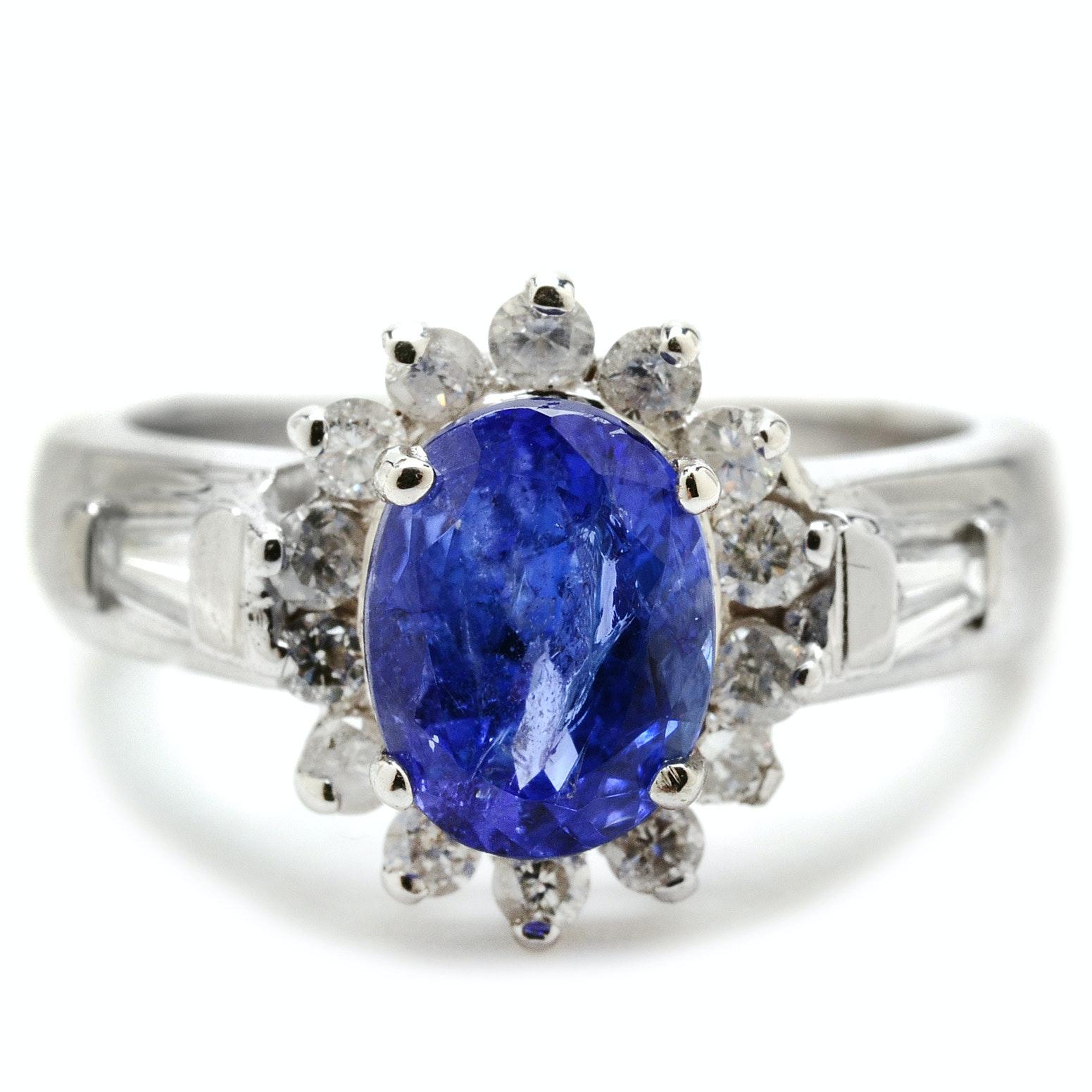 Platinum 1.52 Carat Tanzanite Diamond Fashion Ring