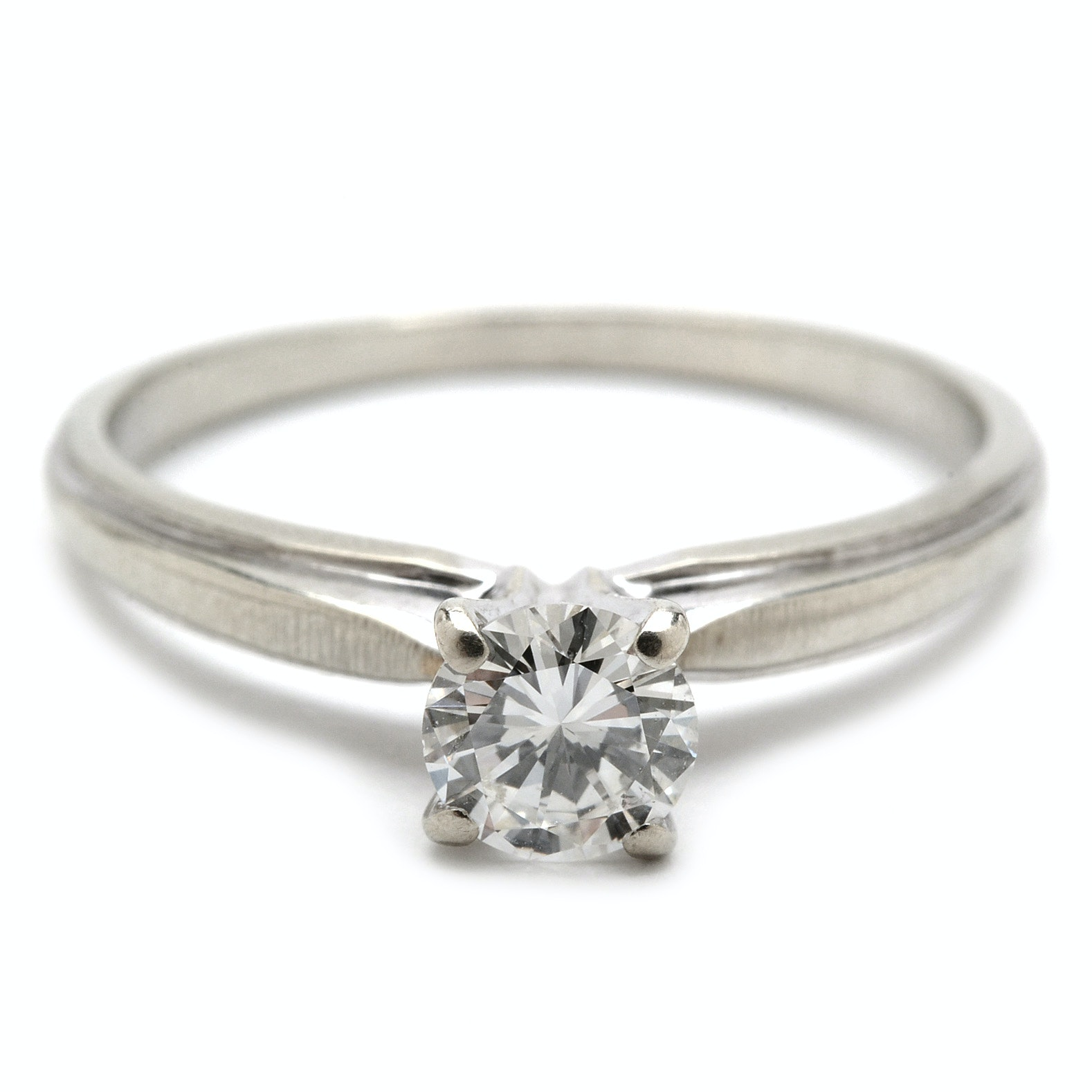 18K White Gold Solitaire Diamond Engagement Ring