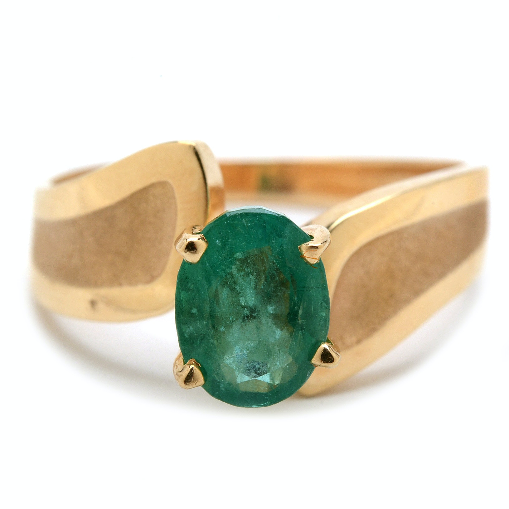 14K Yellow Gold Solitaire 1.14 Carat Natural Emerald Fashion Ring