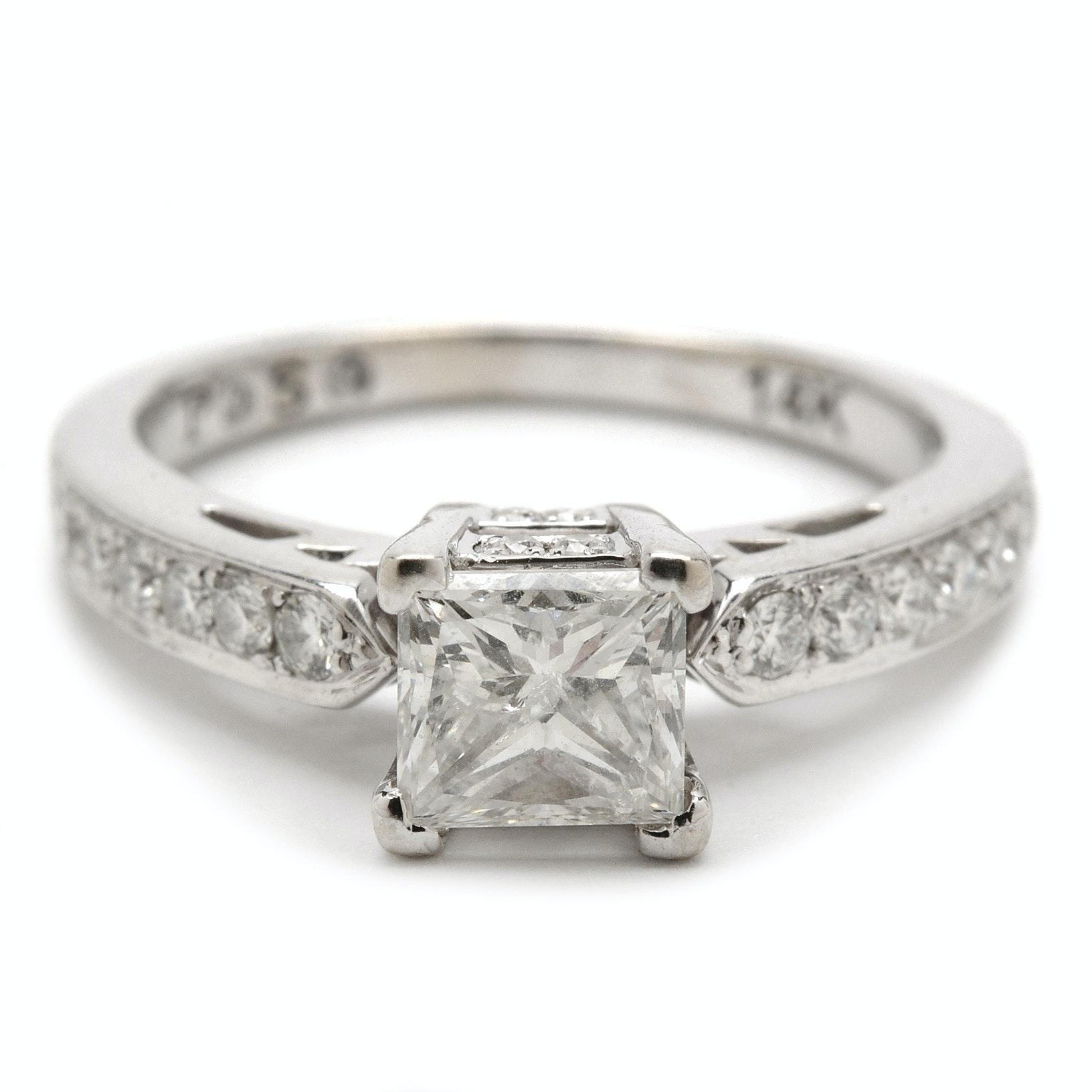 Passionstone 14K White Gold 1.36 CTW Diamond Engagement Ring