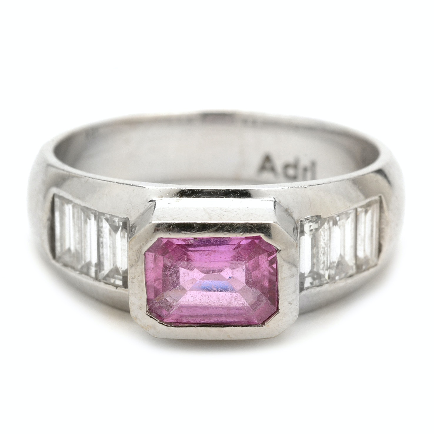 18K White Gold Natural Pink Sapphire Diamond Modernist Ring