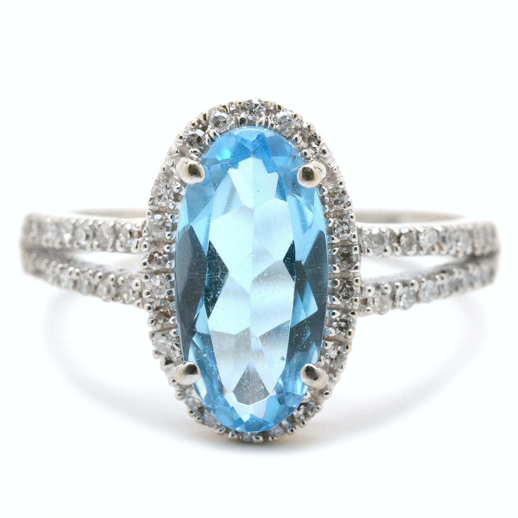 14K White Gold Natural Blue Topaz Diamond Fashion Ring