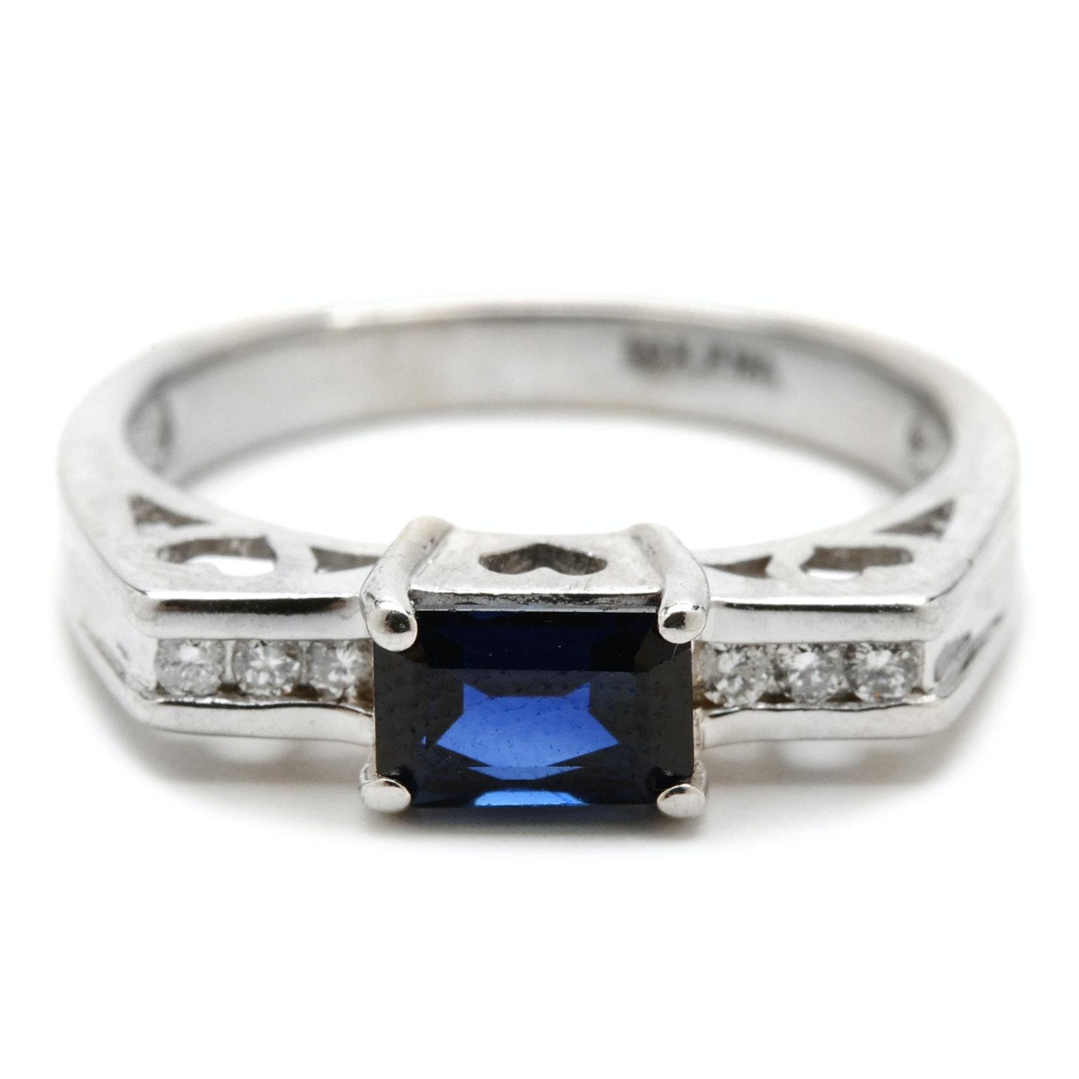 14K White Gold Natural Blue Sapphire Diamond Ring