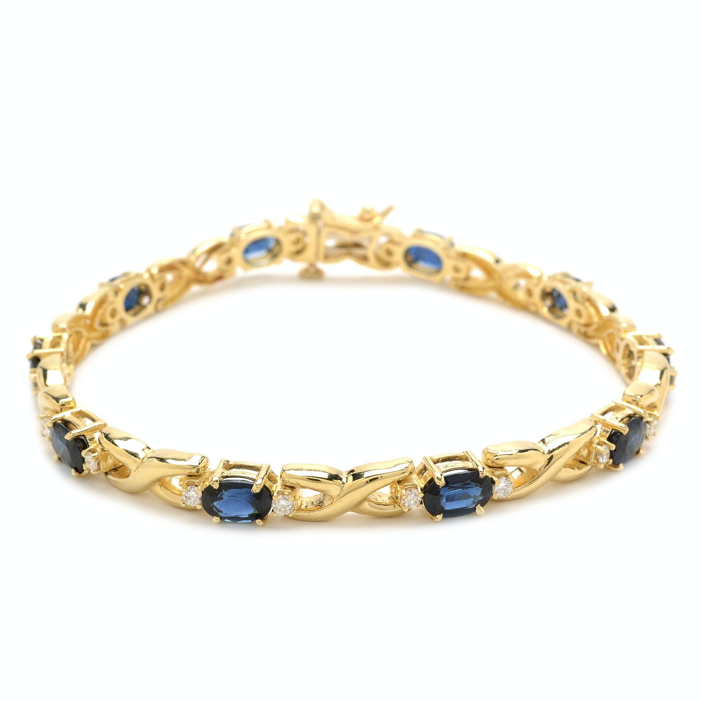 14K Yellow Gold Natural Blue Sapphire Diamond Linked Bracelet