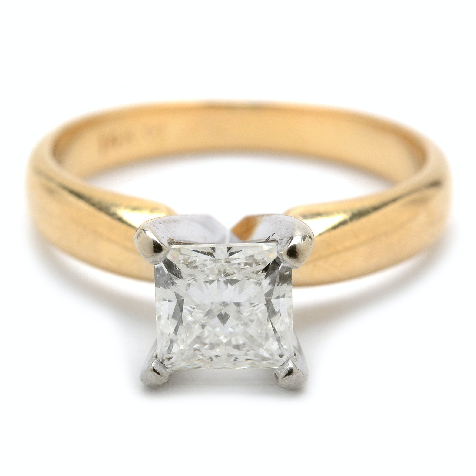 14K Yellow Gold 0.97 Carat Diamond Engagement Ring with GIA Card