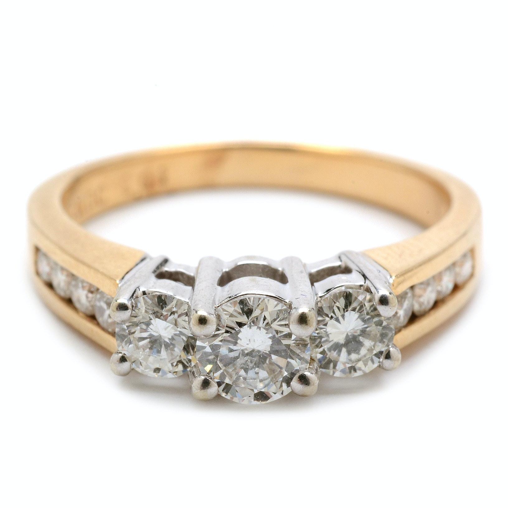 14K Yellow Gold 0.99 CTW Diamond Engagement Ring