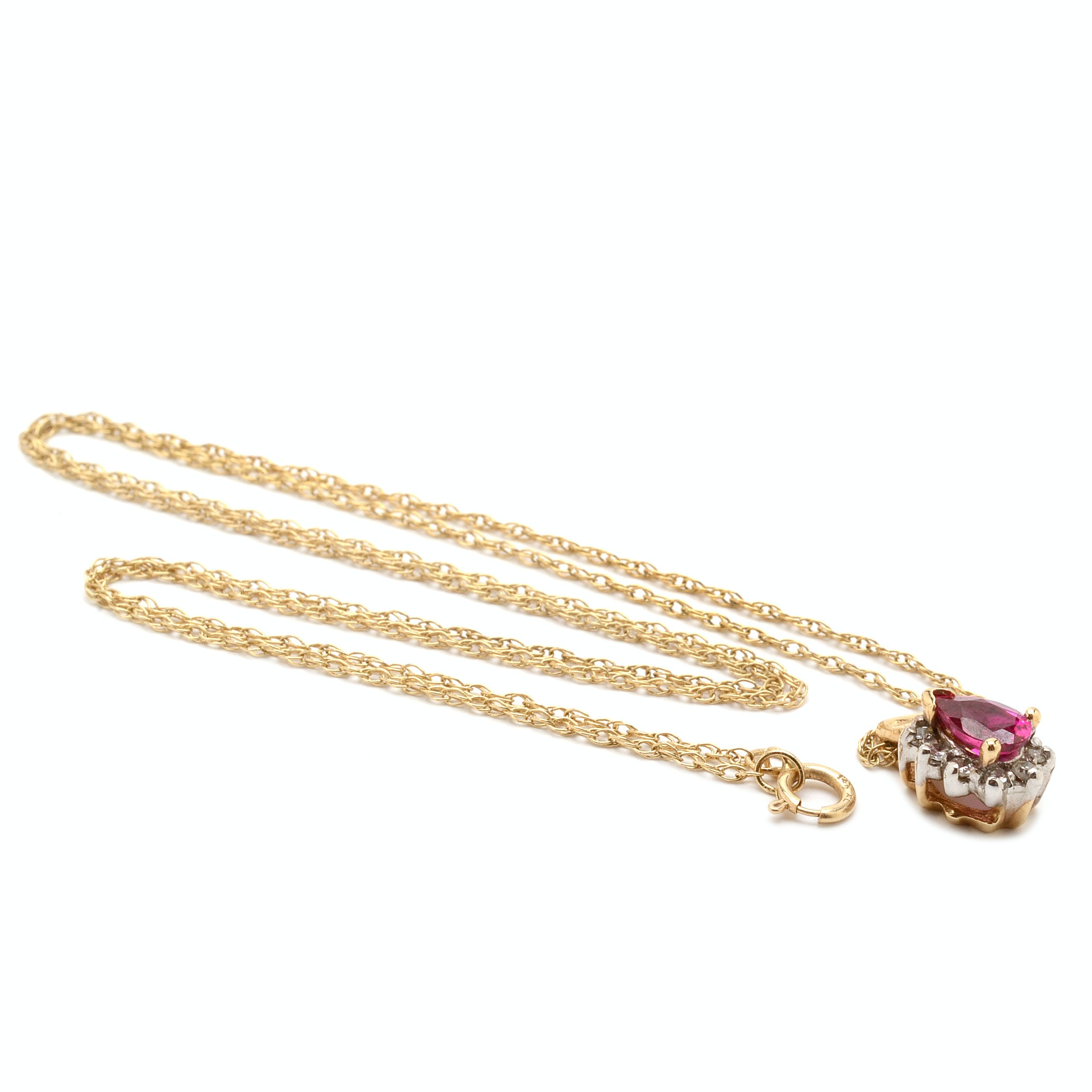 14K Yellow Gold Synthetic Ruby Diamond Pendant Necklace