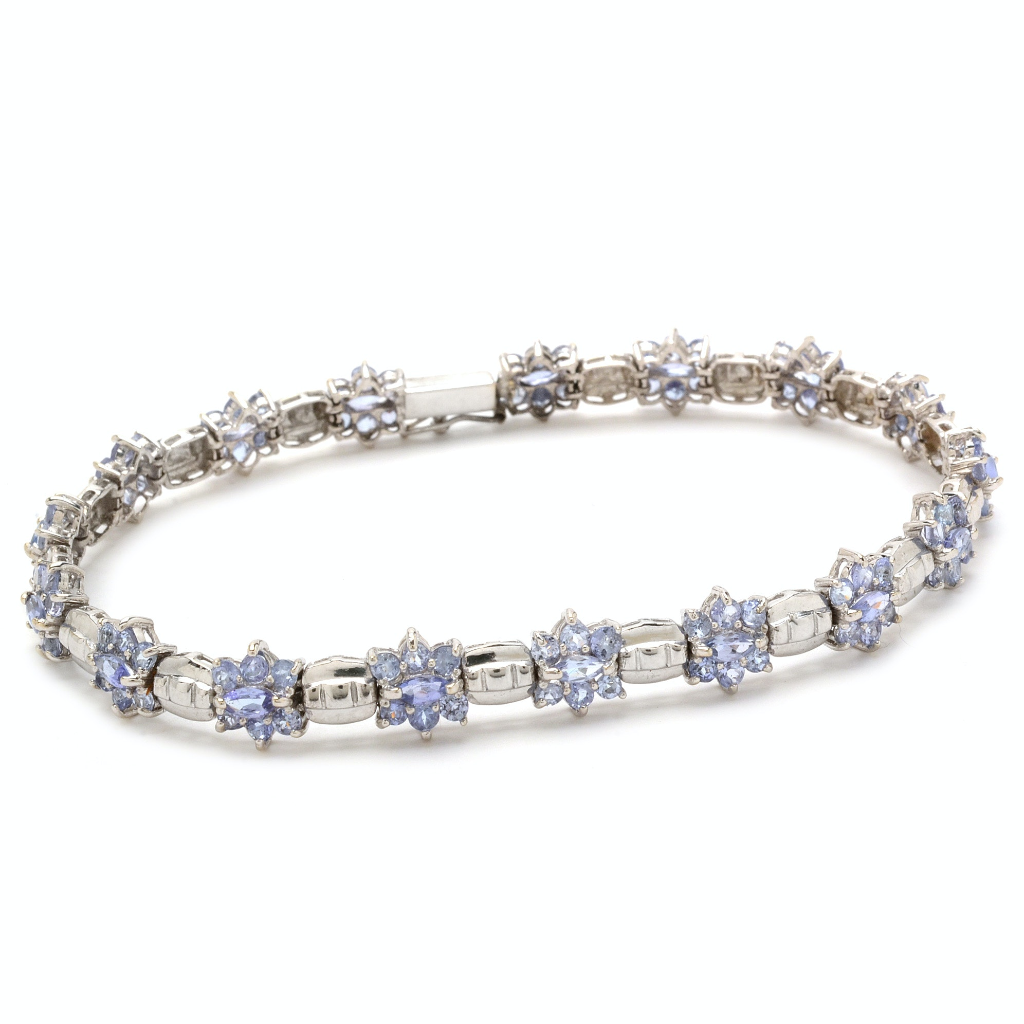 14K White Gold 7.82 CTW Natural Tanzanite Linked Bracelet