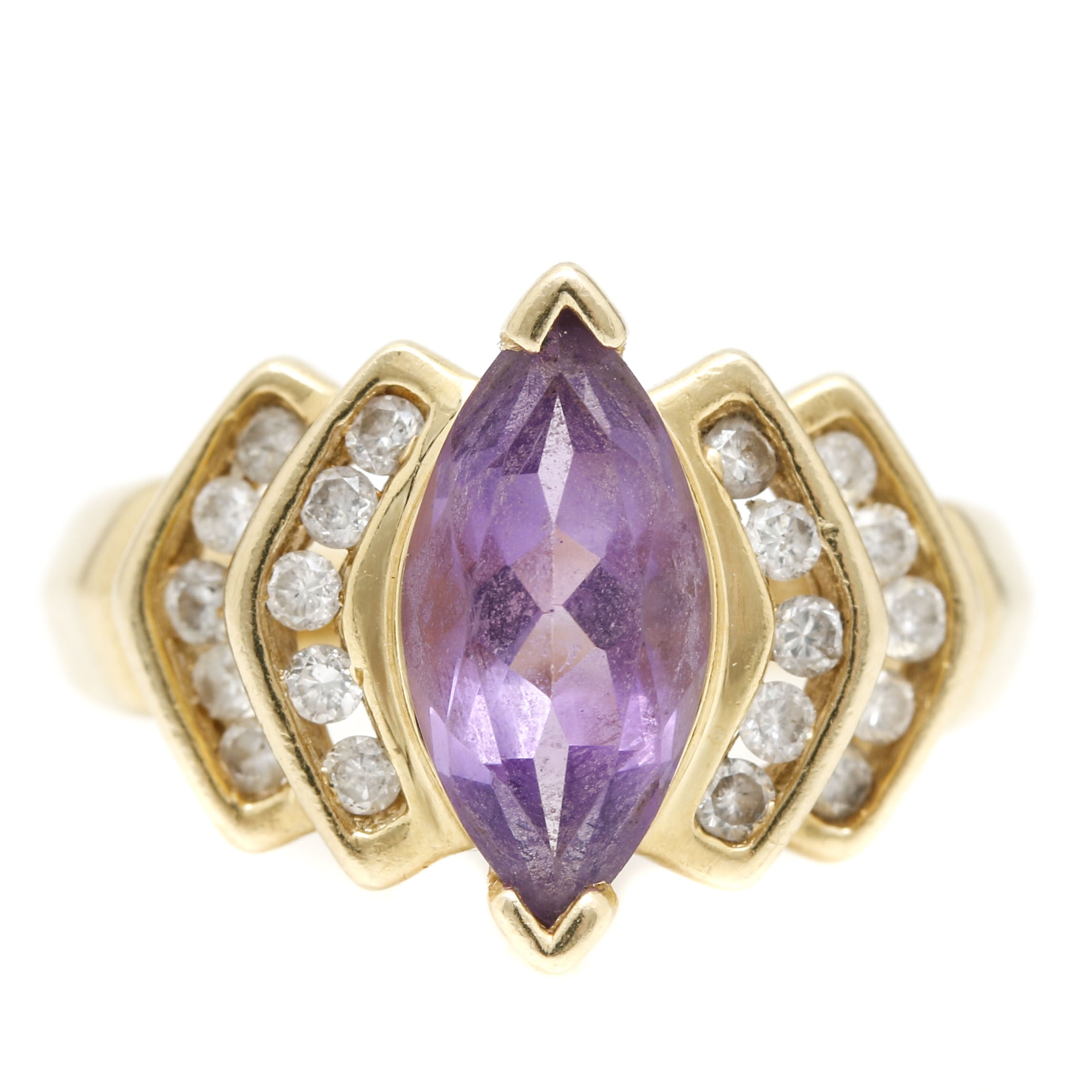 14K Yellow Gold Diamond and 1.42 CT Amethyst Ring