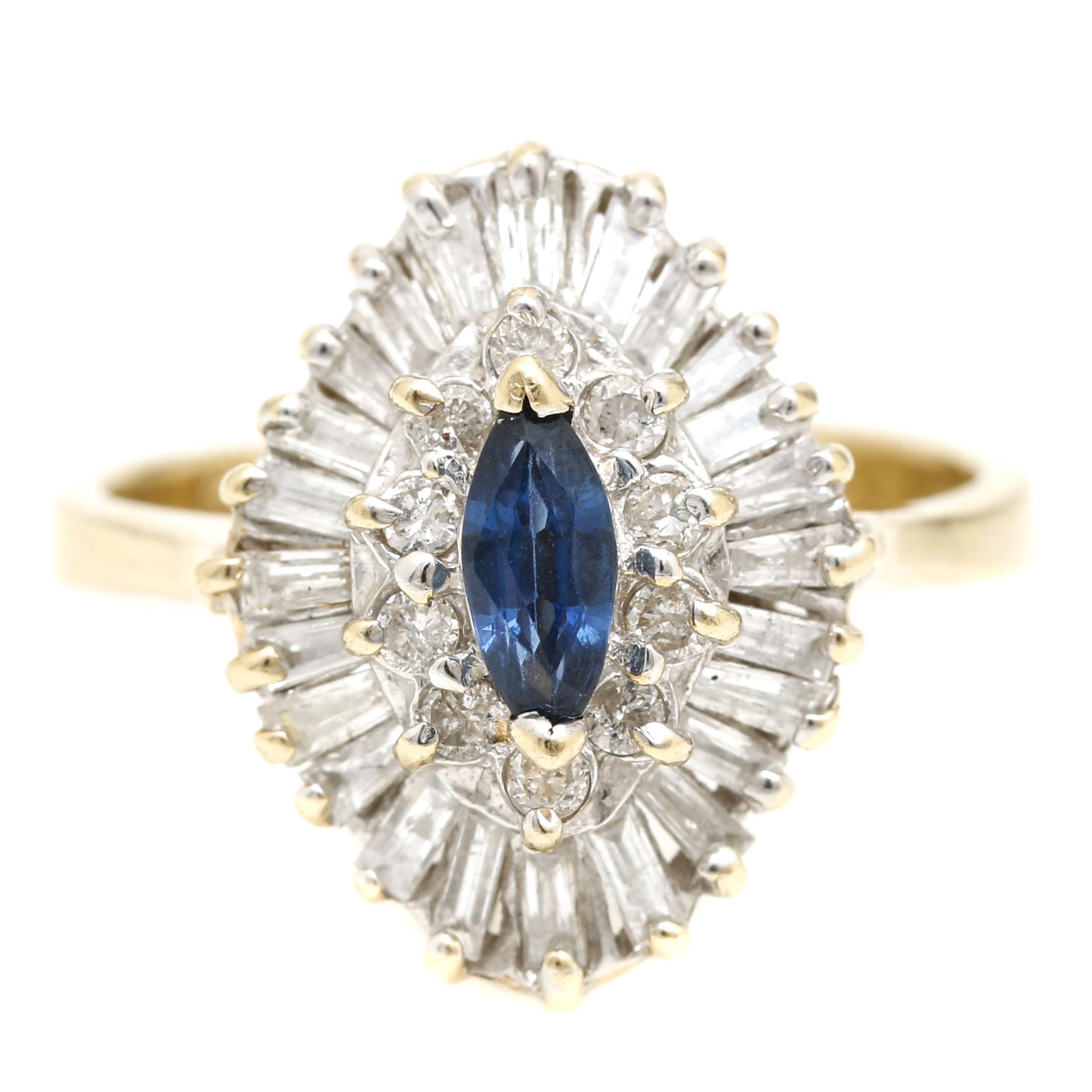 14K Yellow Gold Sapphire and Diamond Ballerina Ring
