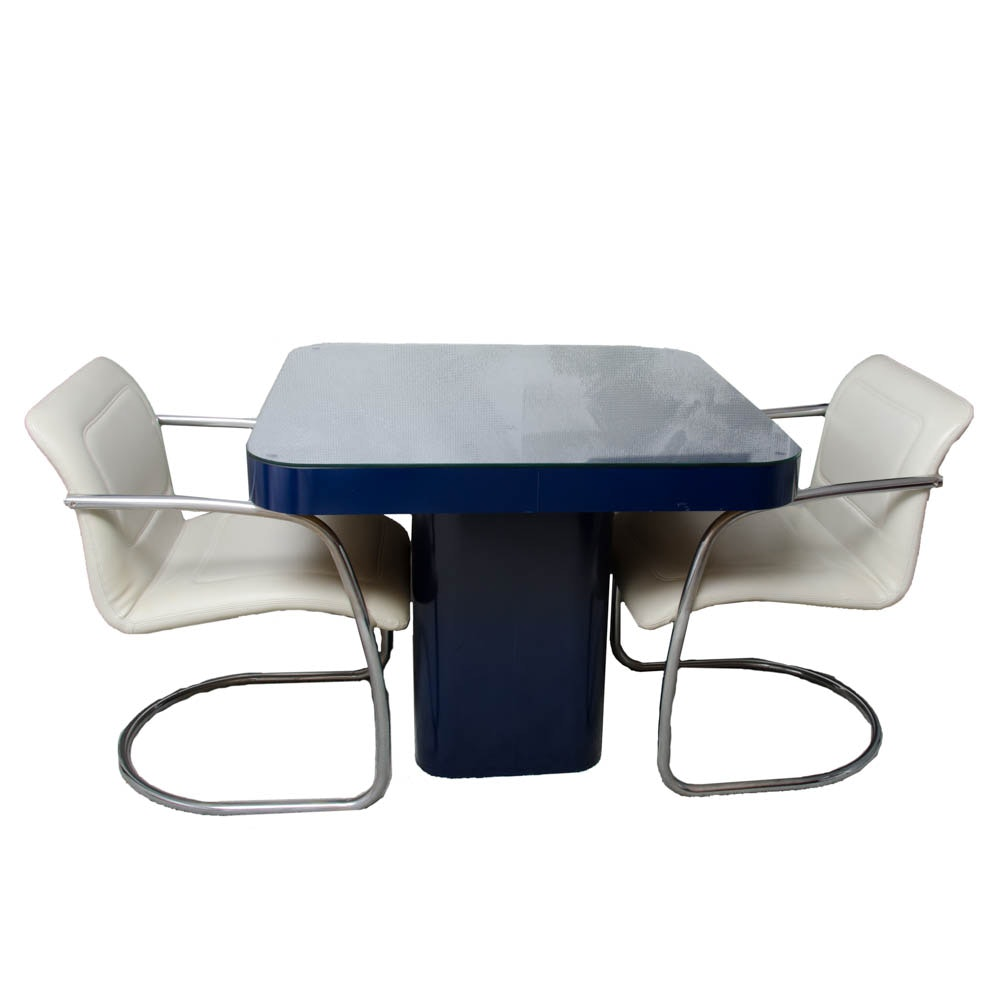 Navy Blue Card Table With Modern Style Chairs